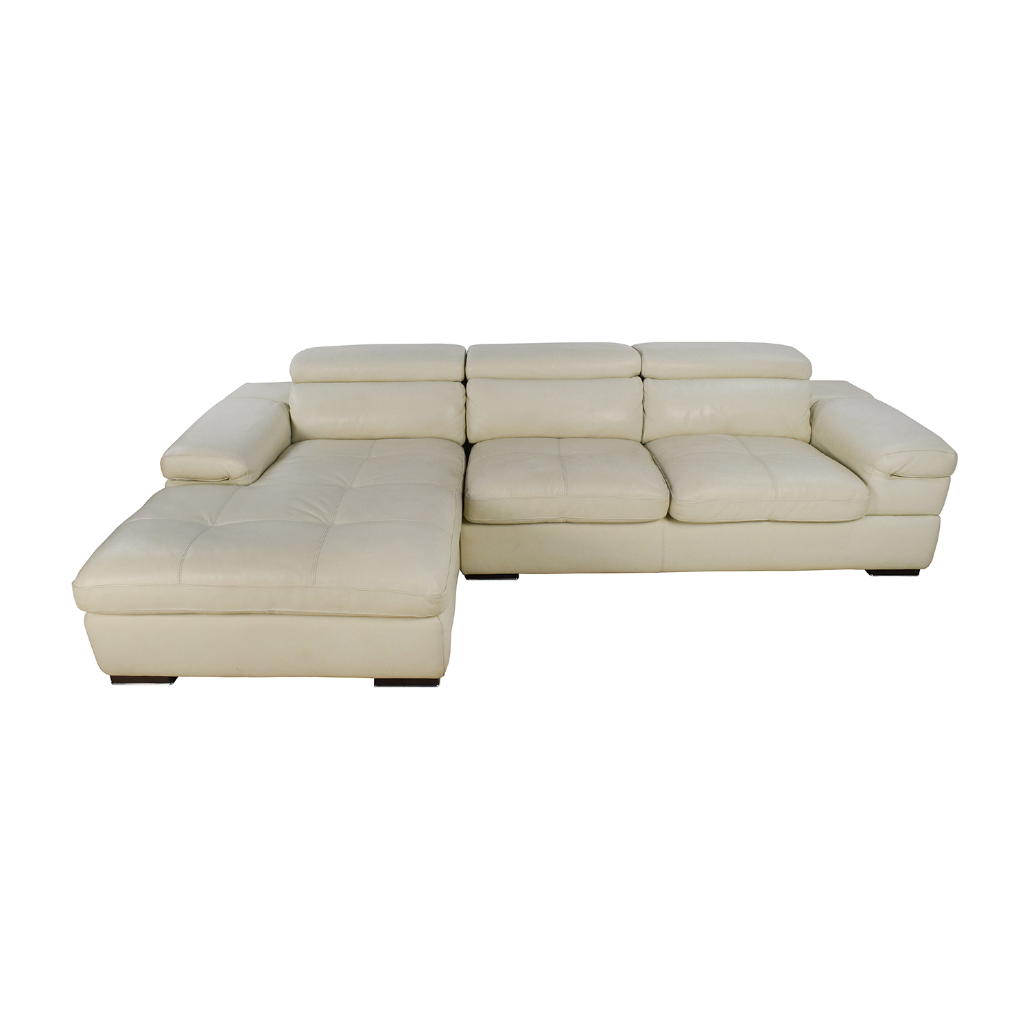 shop L-Shaped Cream Leather Sectional Sofa