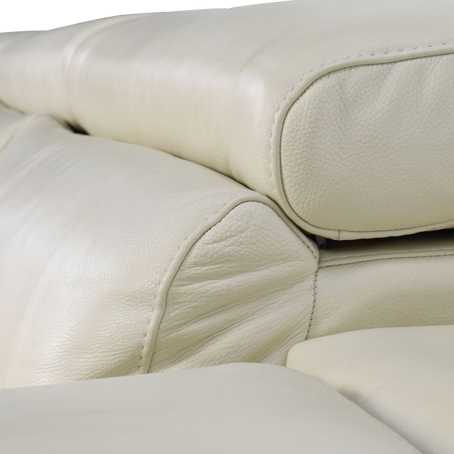 Second Hand Leather Sofas Somerset: L-Shaped Cream Leather Sectional Sofa / Sofas