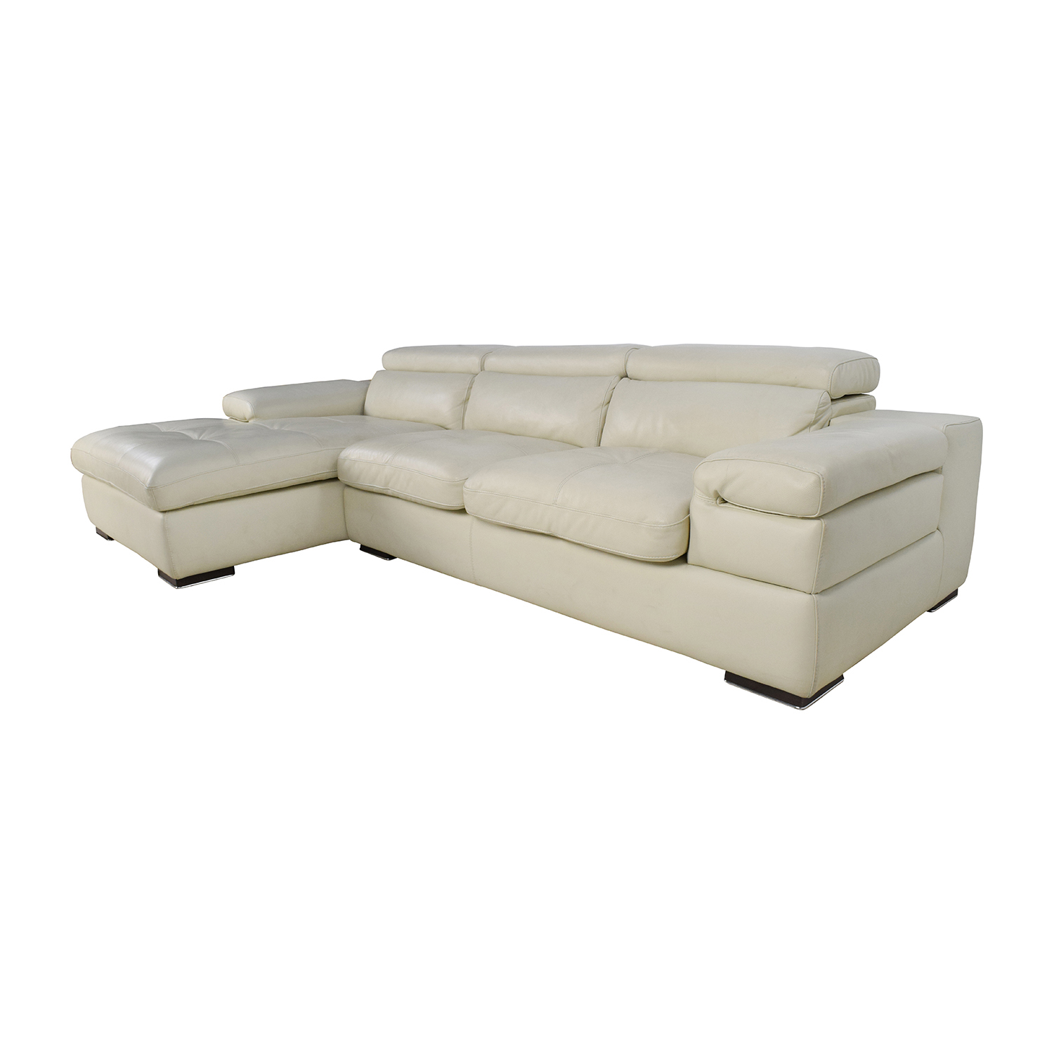 69 off l shaped cream leather sectional sofa sofas. Black Bedroom Furniture Sets. Home Design Ideas