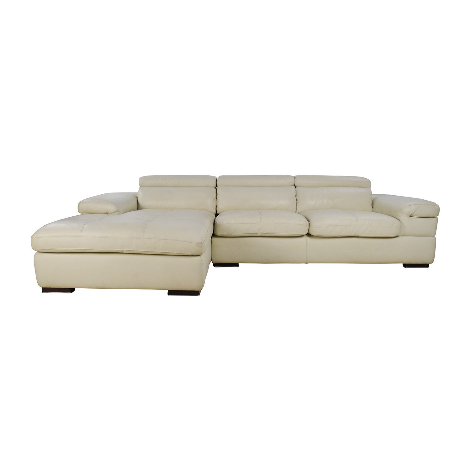 69% OFF - L-Shaped Cream Leather Sectional Sofa / Sofas