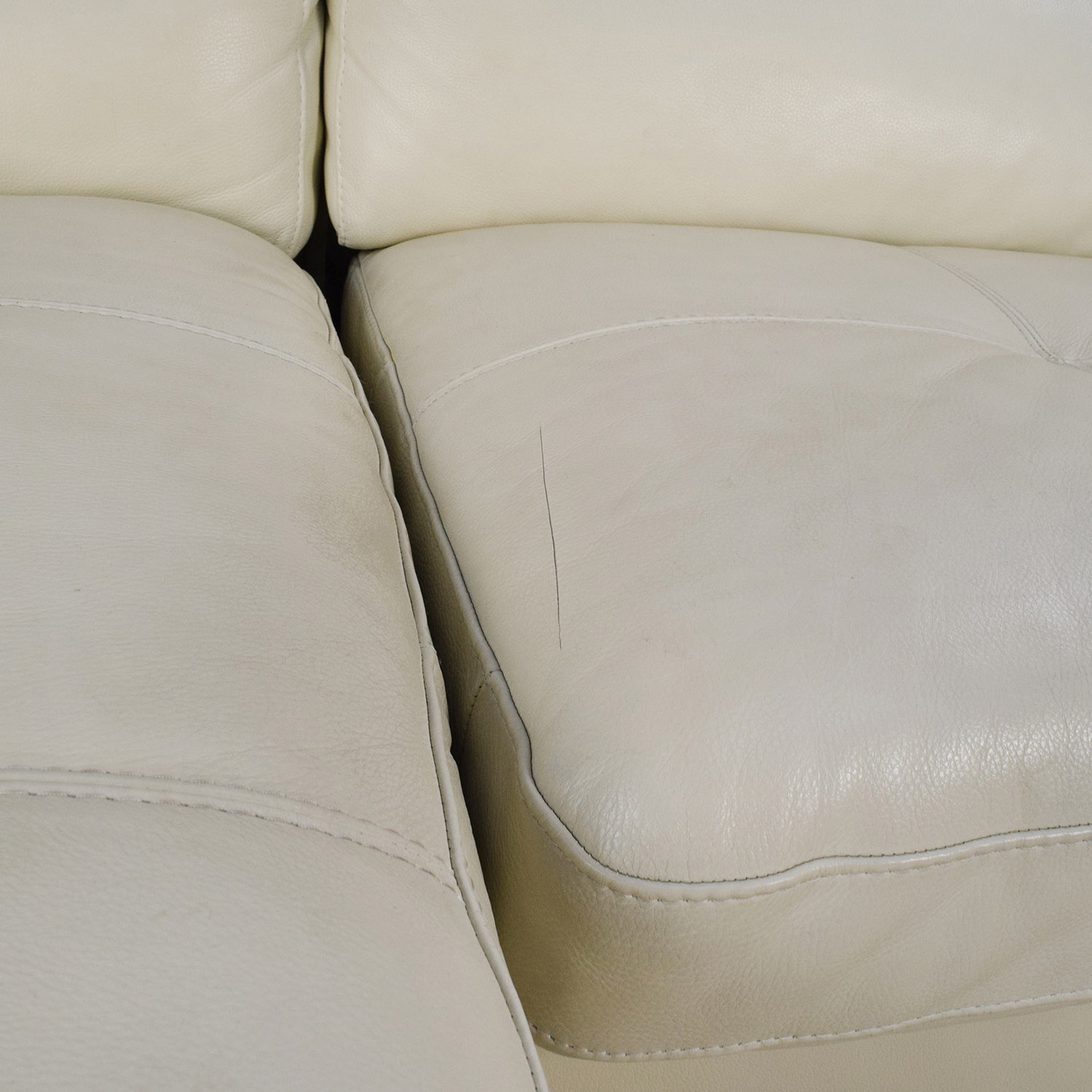 69 Off L Shaped Cream Leather Sectional Sofa Sofas