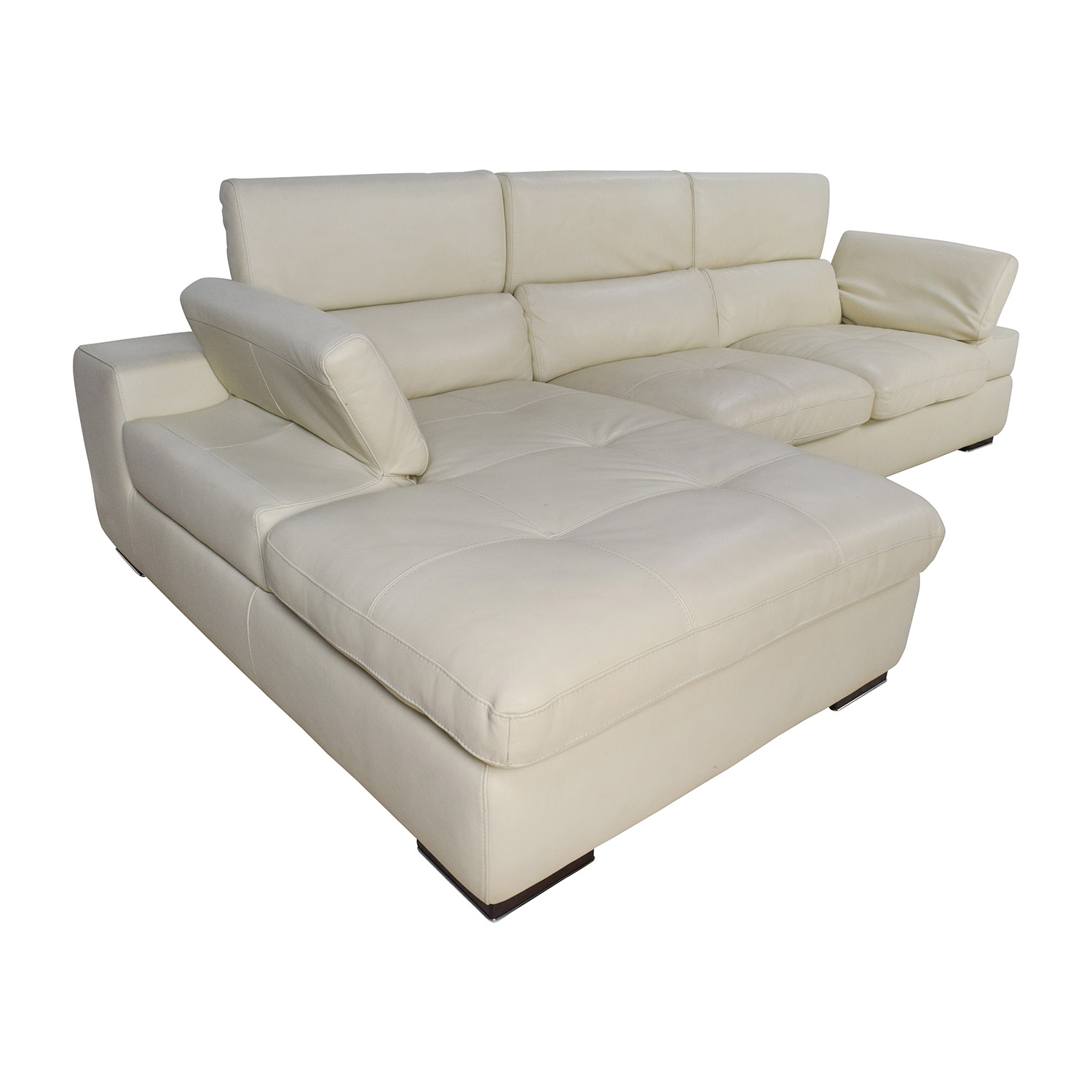 69 off l shaped cream leather sectional sofa sofas for Sofas