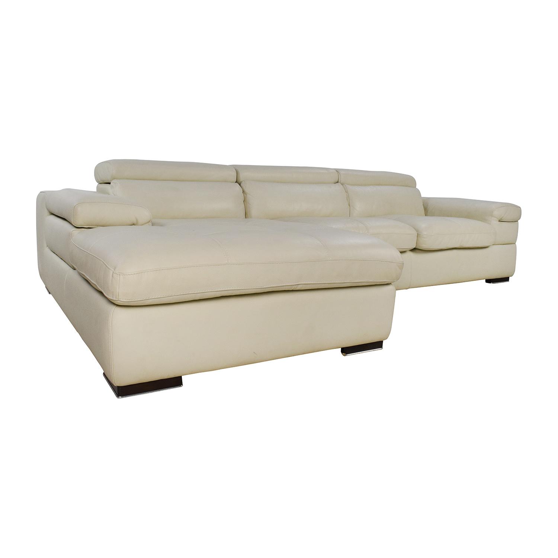 Leather Cream Sofa: L-Shaped Cream Leather Sectional Sofa / Sofas