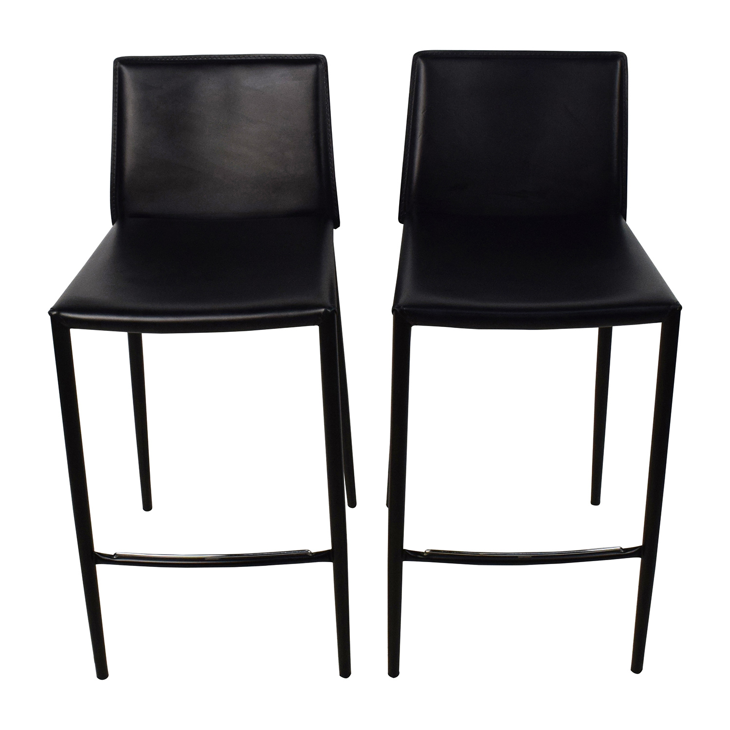 Picture of: 80 Off Calligaris Calligaris Boheme Black Leather Bar Stool Set Chairs