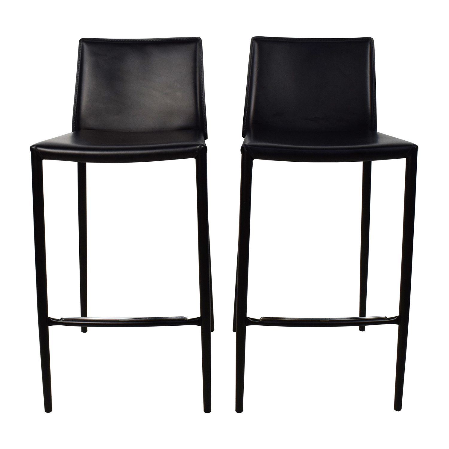 buy Calligaris Boheme Black Leather Bar Stool Set Calligaris