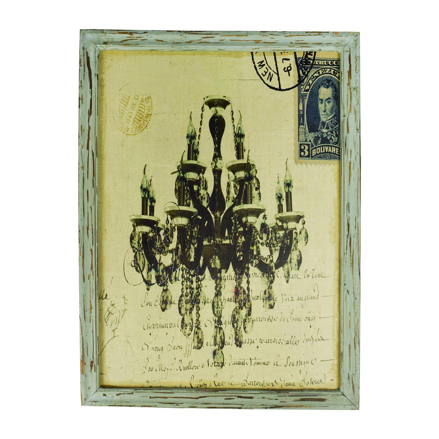 Rustic Chandelier and Stamp Painting / Wall Art