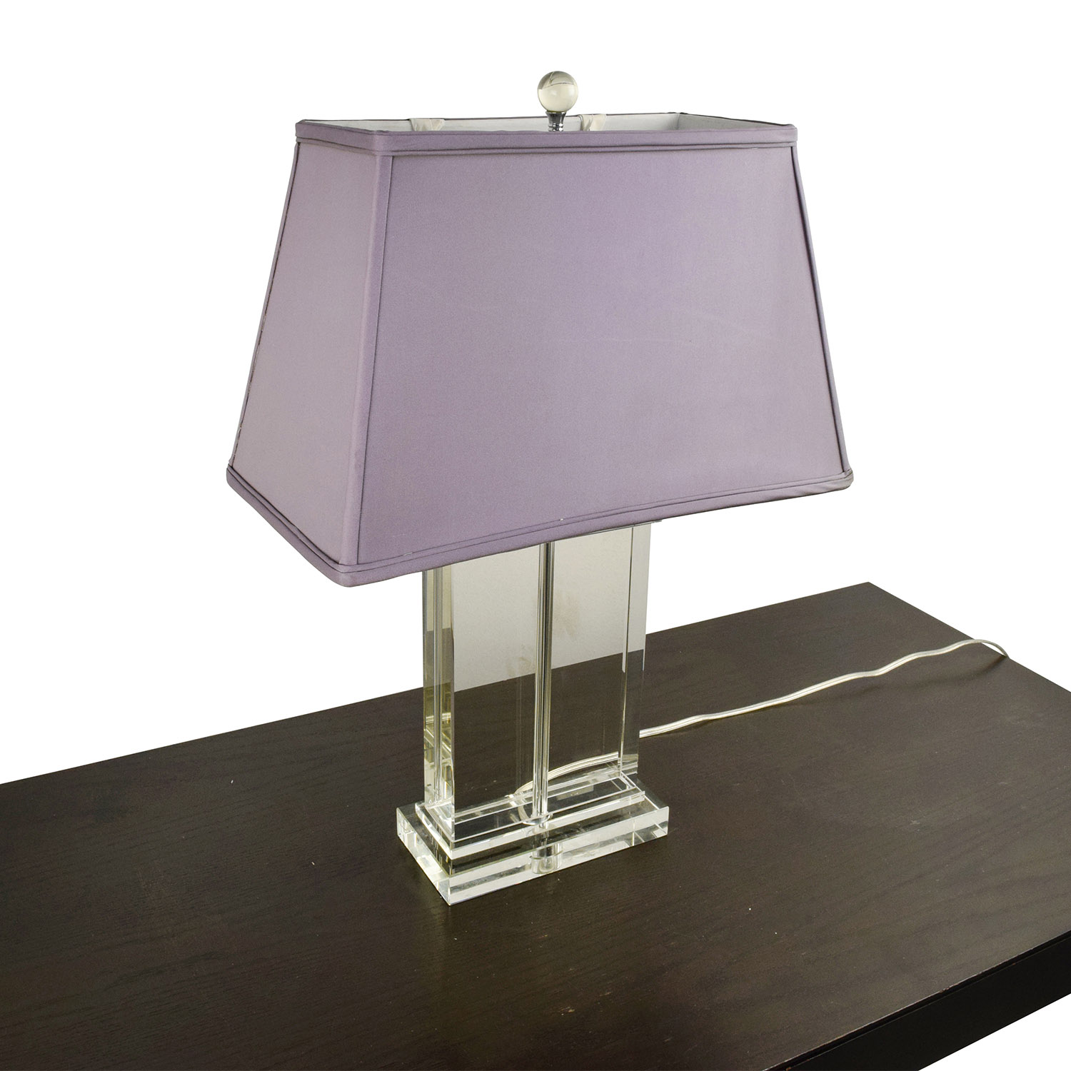 Glass Base Lamp with Lavender Shade / Decor