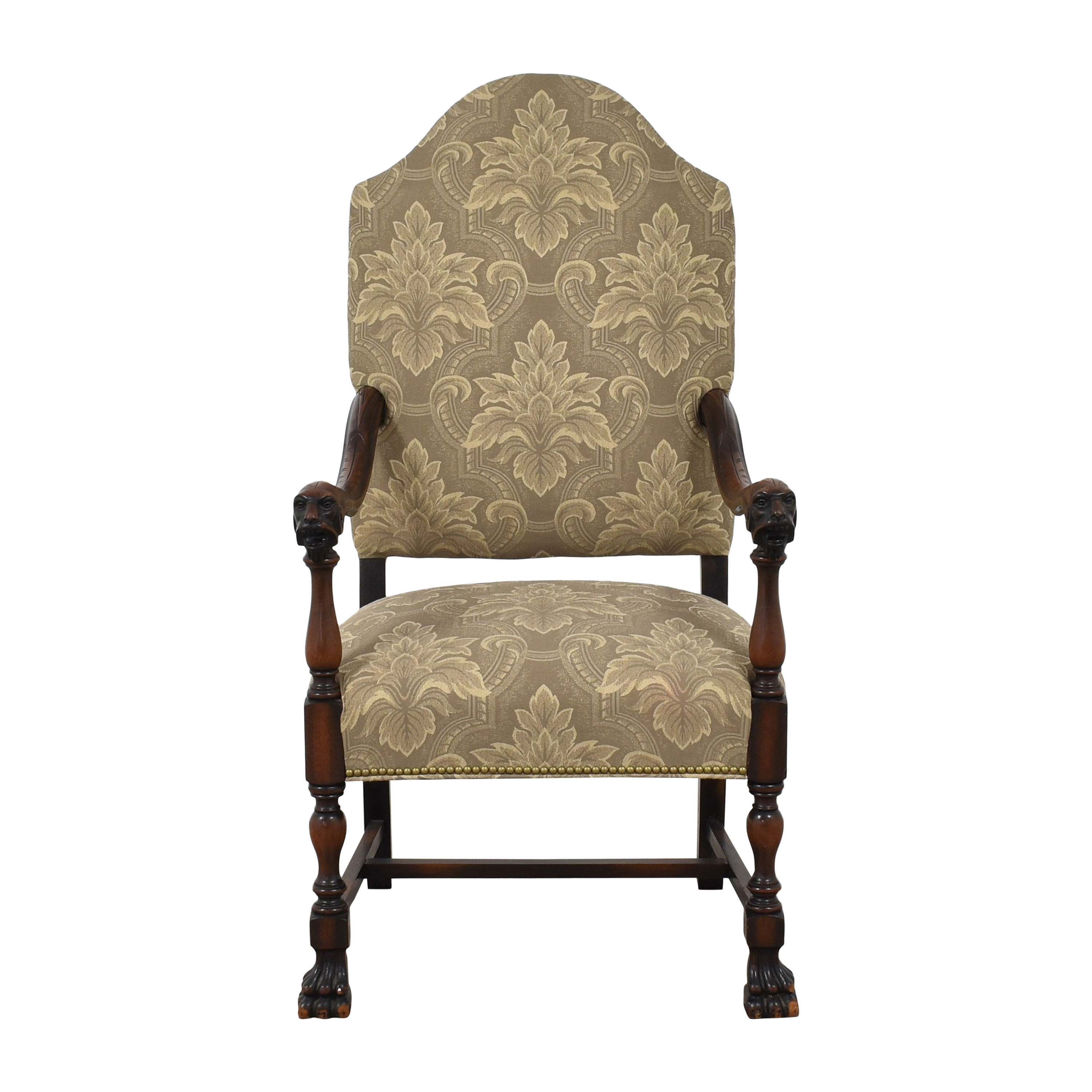 Carved Upholstered Arm Chair Accent Chairs