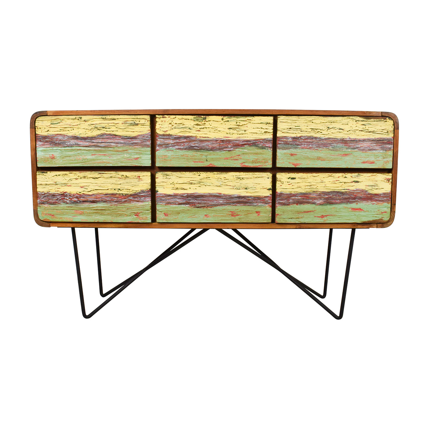 Anthropologie Anthropologie Walnut with Metal Base Dresser Brown yellow and green