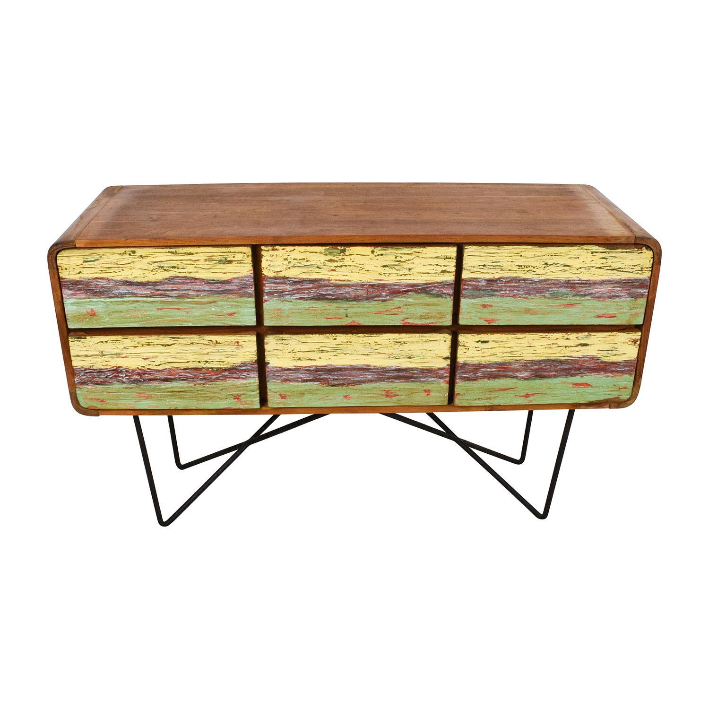 shop Anthropologie Walnut with Metal Base Dresser Anthropologie Dressers