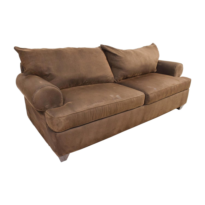 Large Maroon Brown Two Cushion Sofa Used