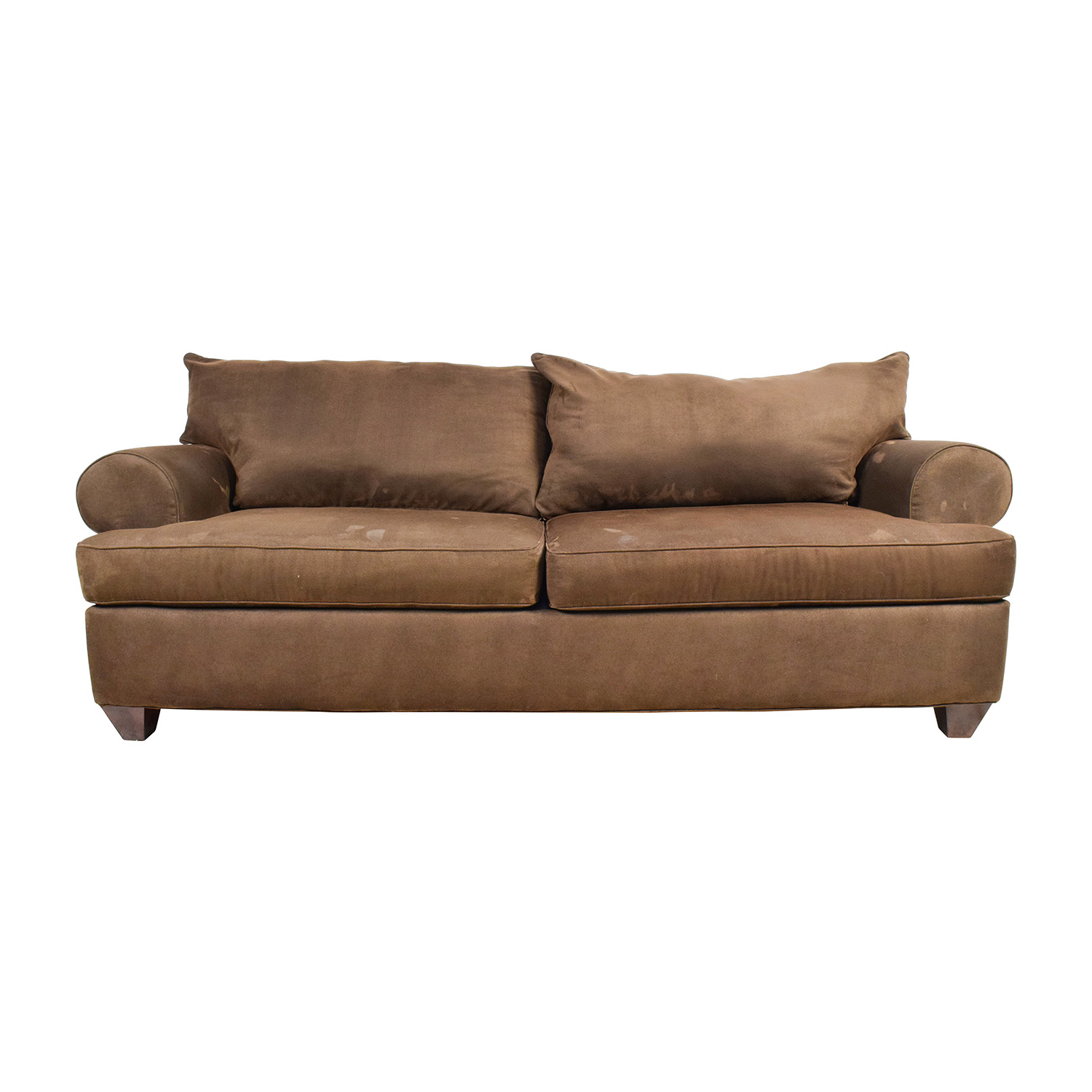 Large Maroon Brown Two Cushion Sofa Classic Sofas