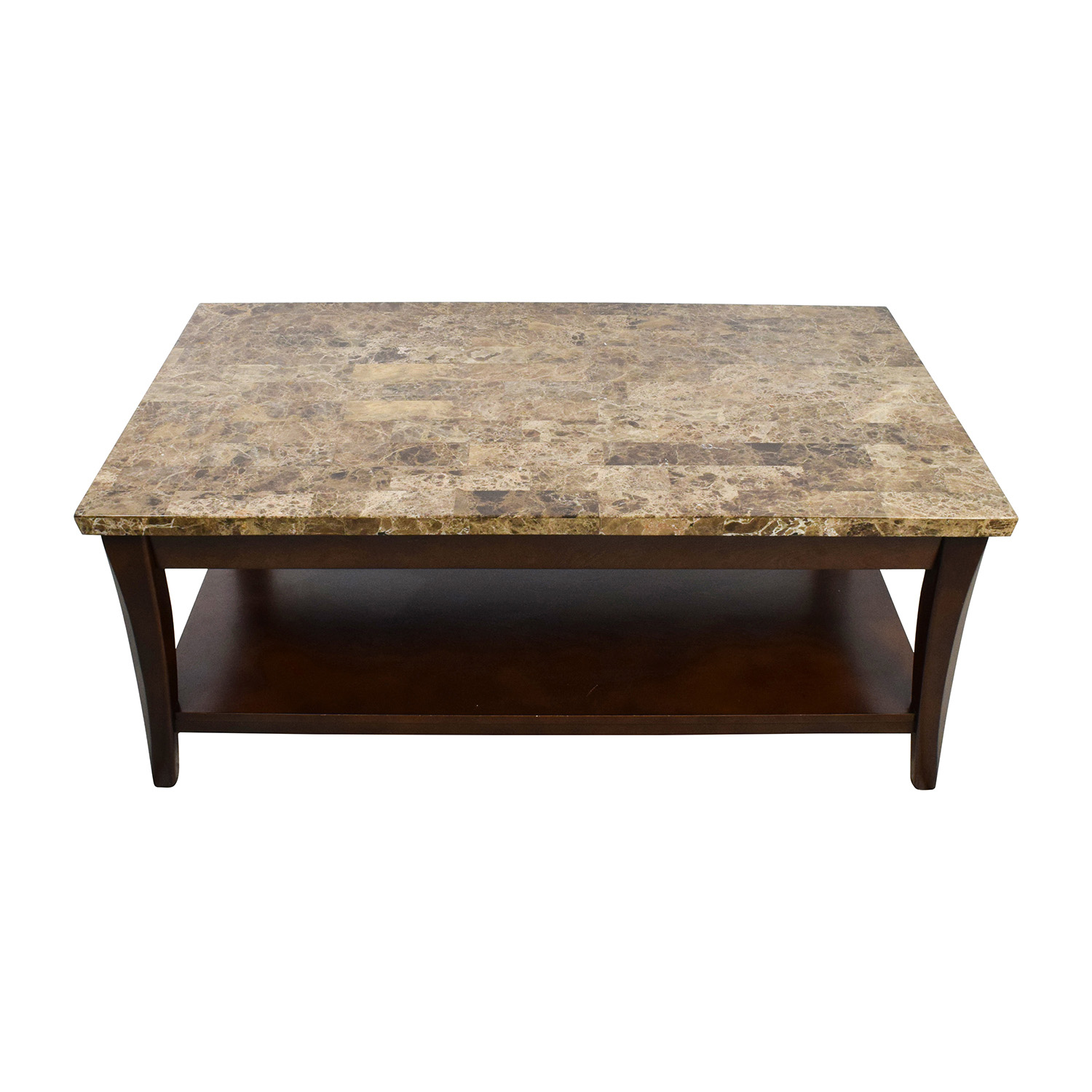 71% OFF Marble and Wood Coffee Table Tables