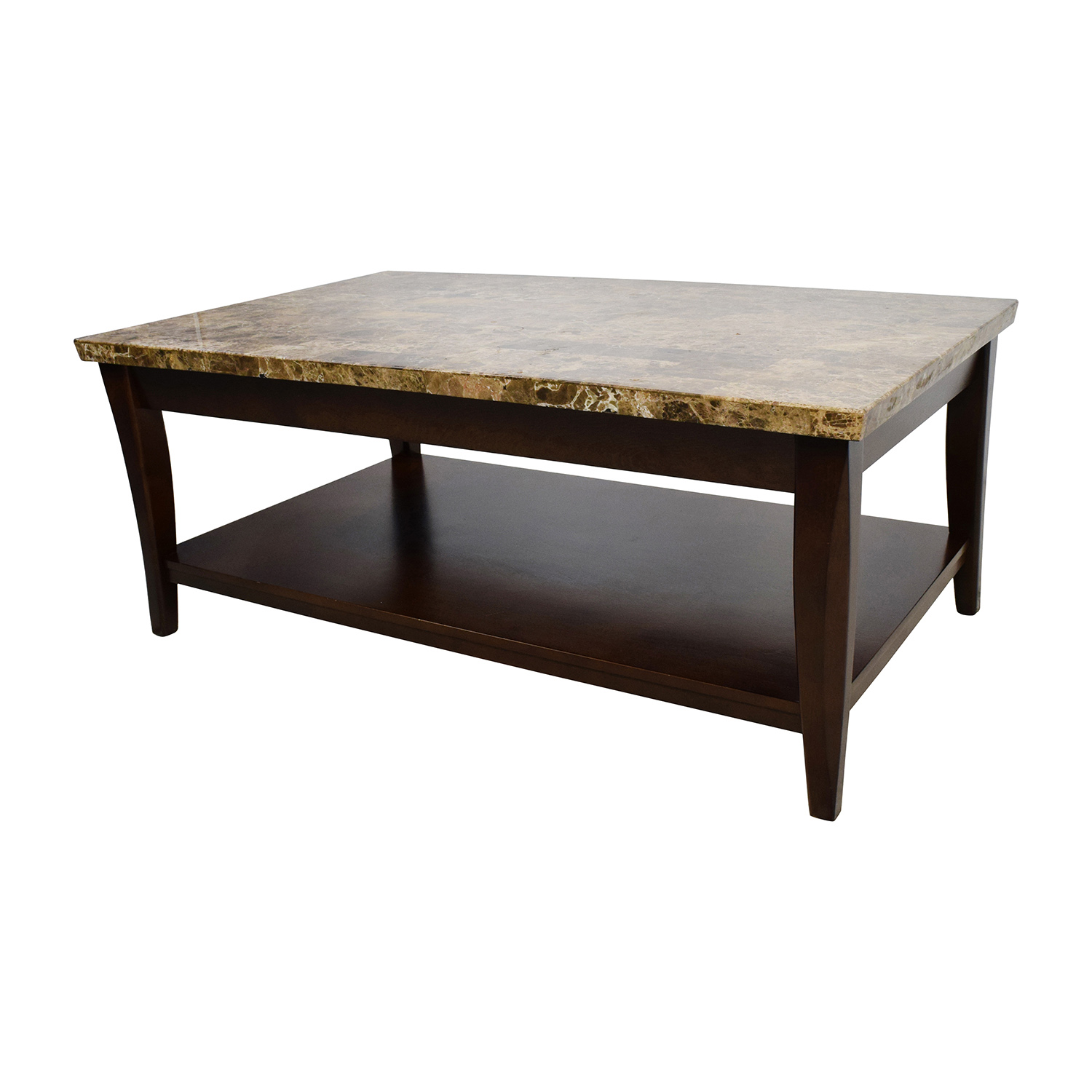 71 Off Marble And Wood Coffee Table Tables