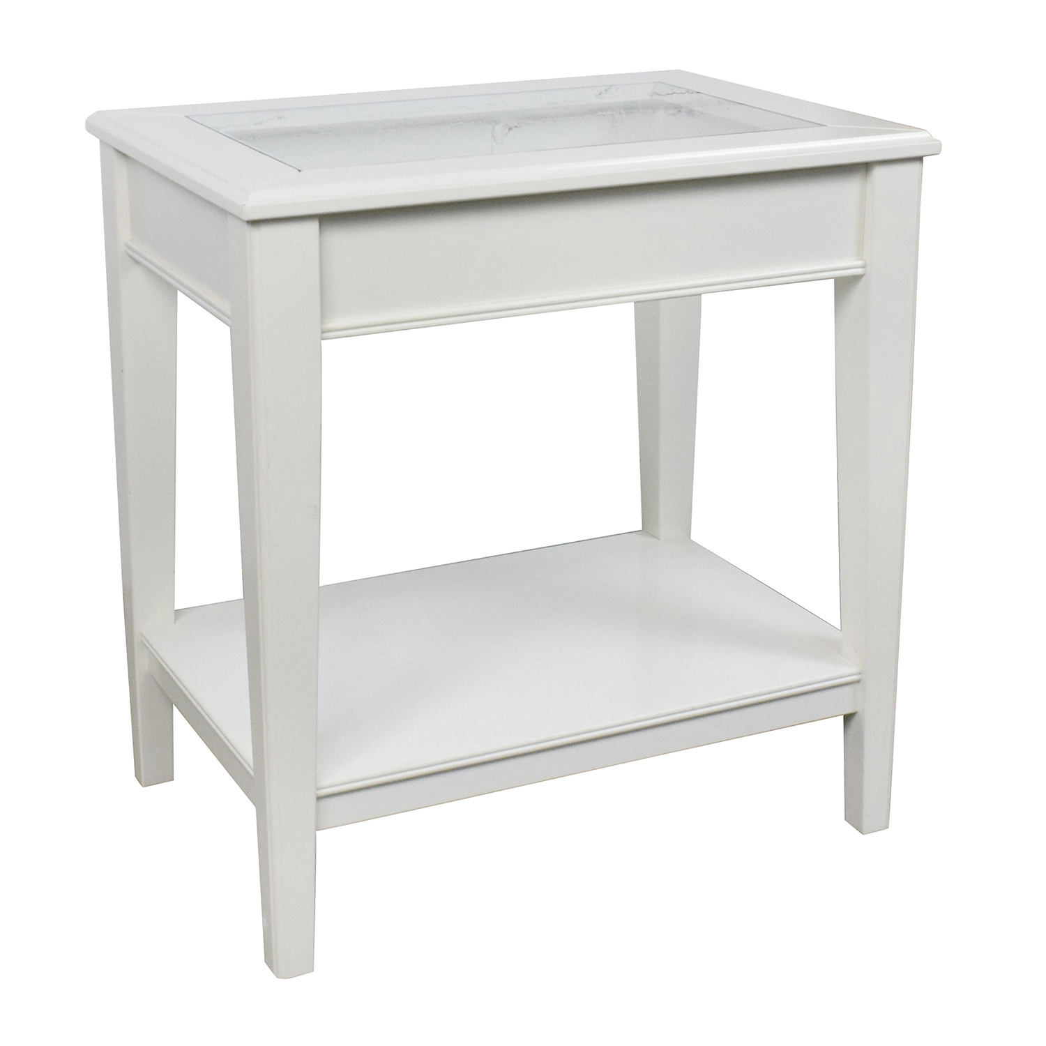 85 off west elm west elm white glass and wood side for White end table