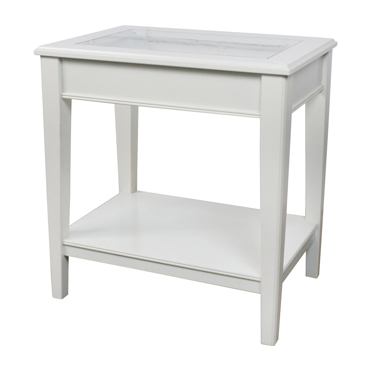 85 off west elm west elm white glass and wood side for White side table