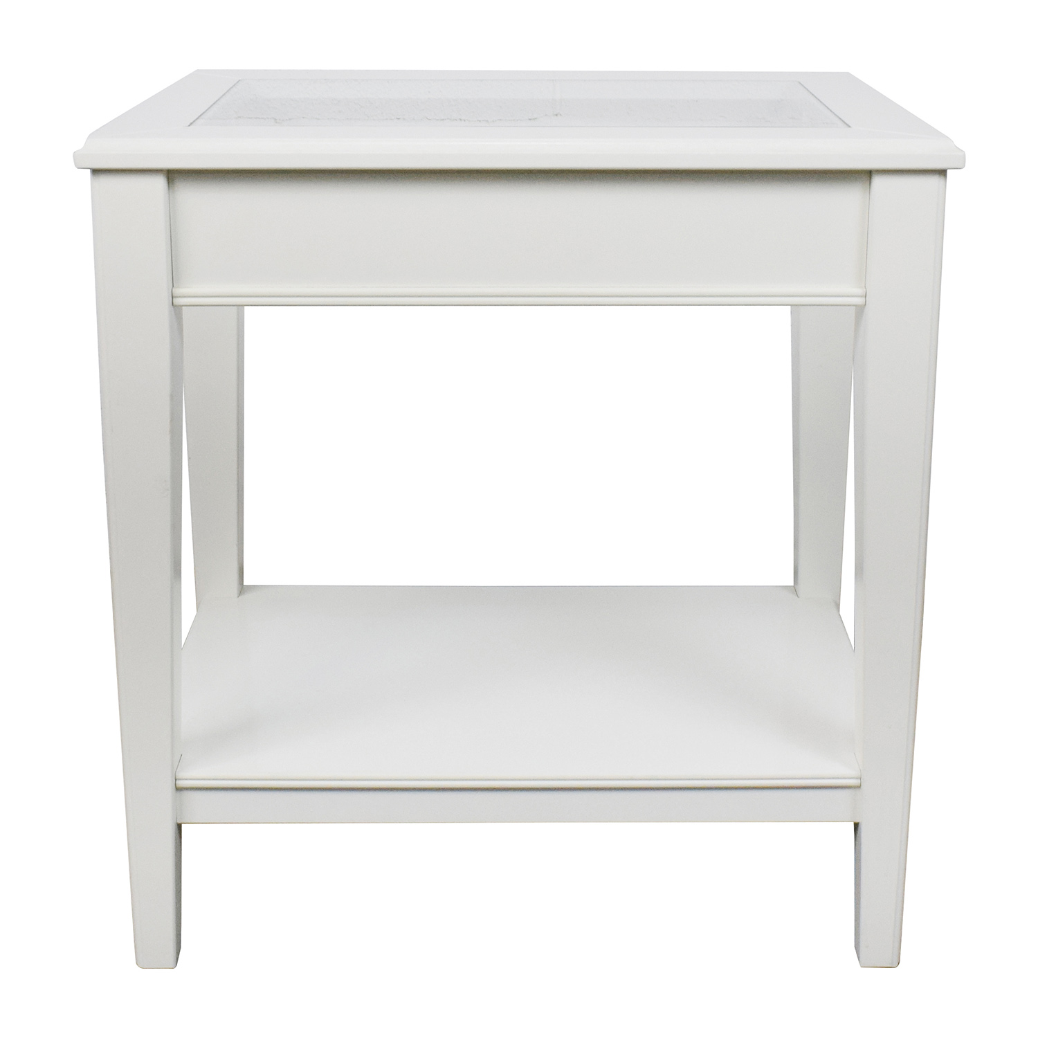 West Elm West Elm White Glass And Wood Side