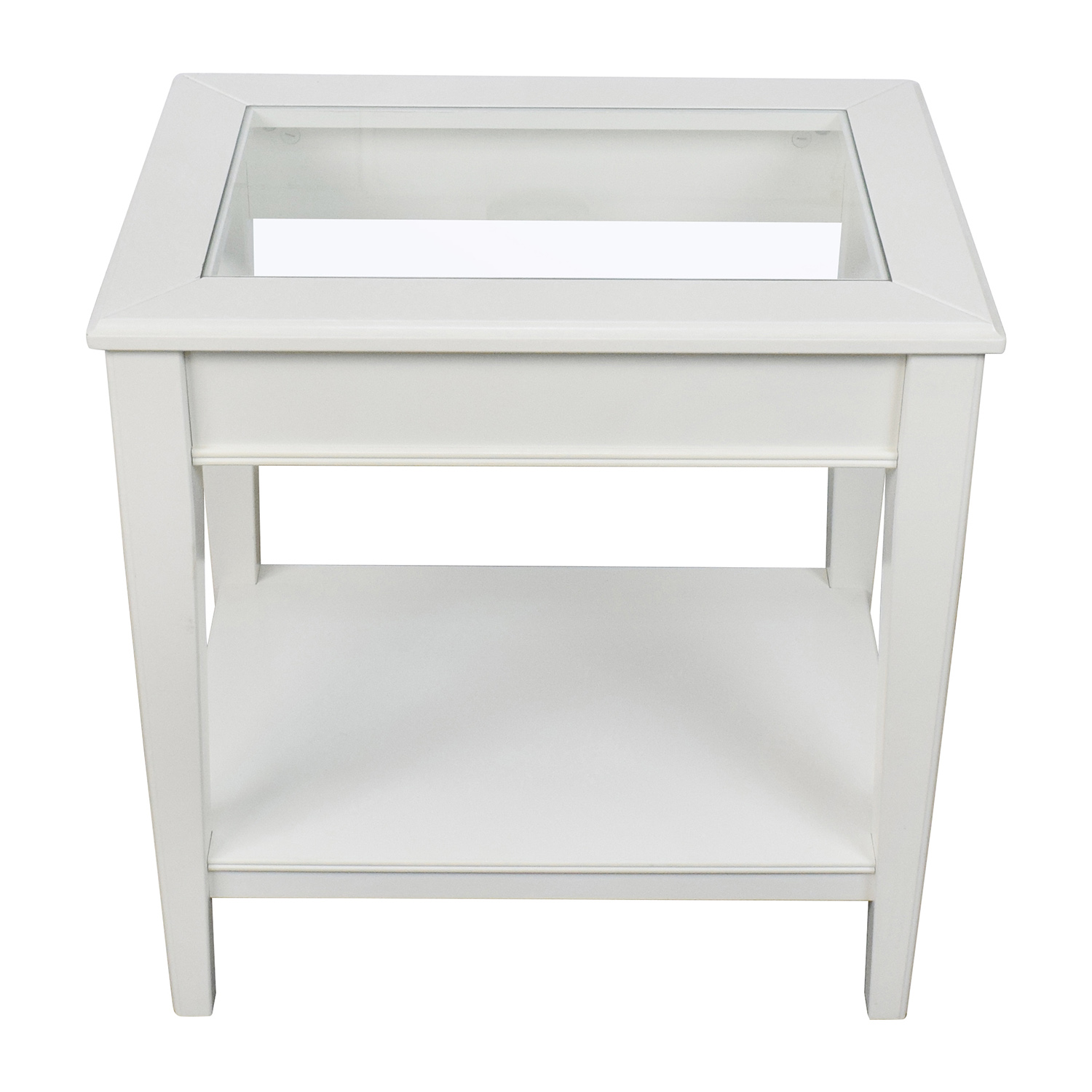 shop West Elm White Glass and Wood Side Table West Elm Sofas