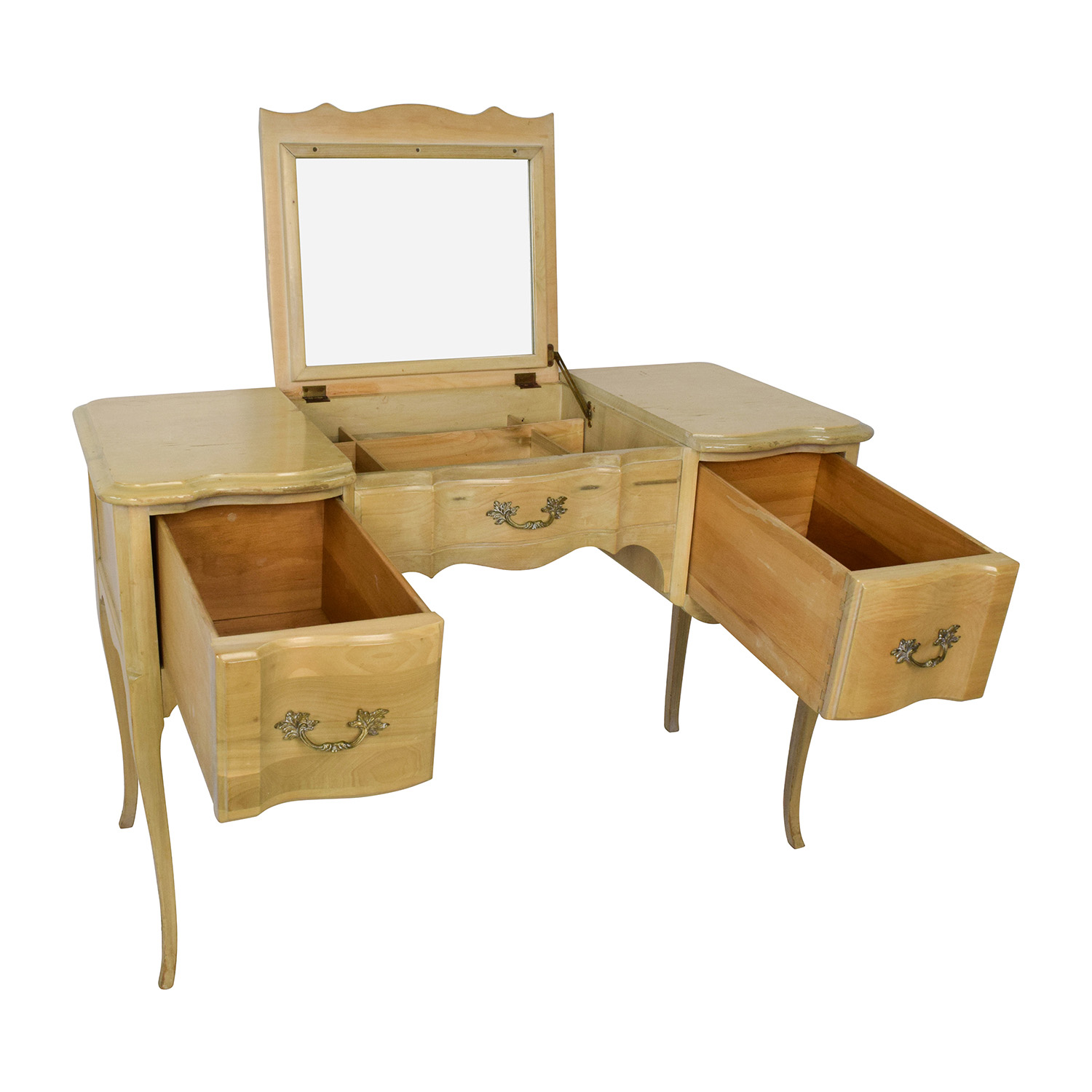 Light Wood Vanity Table With Hidden Mirror Online