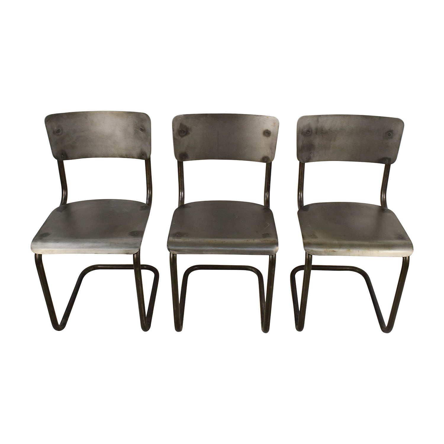 Industrial Style Metal Chair Set used