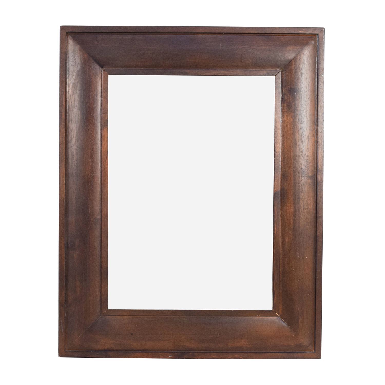 Square Wood Framed Hanging Mirror Brown