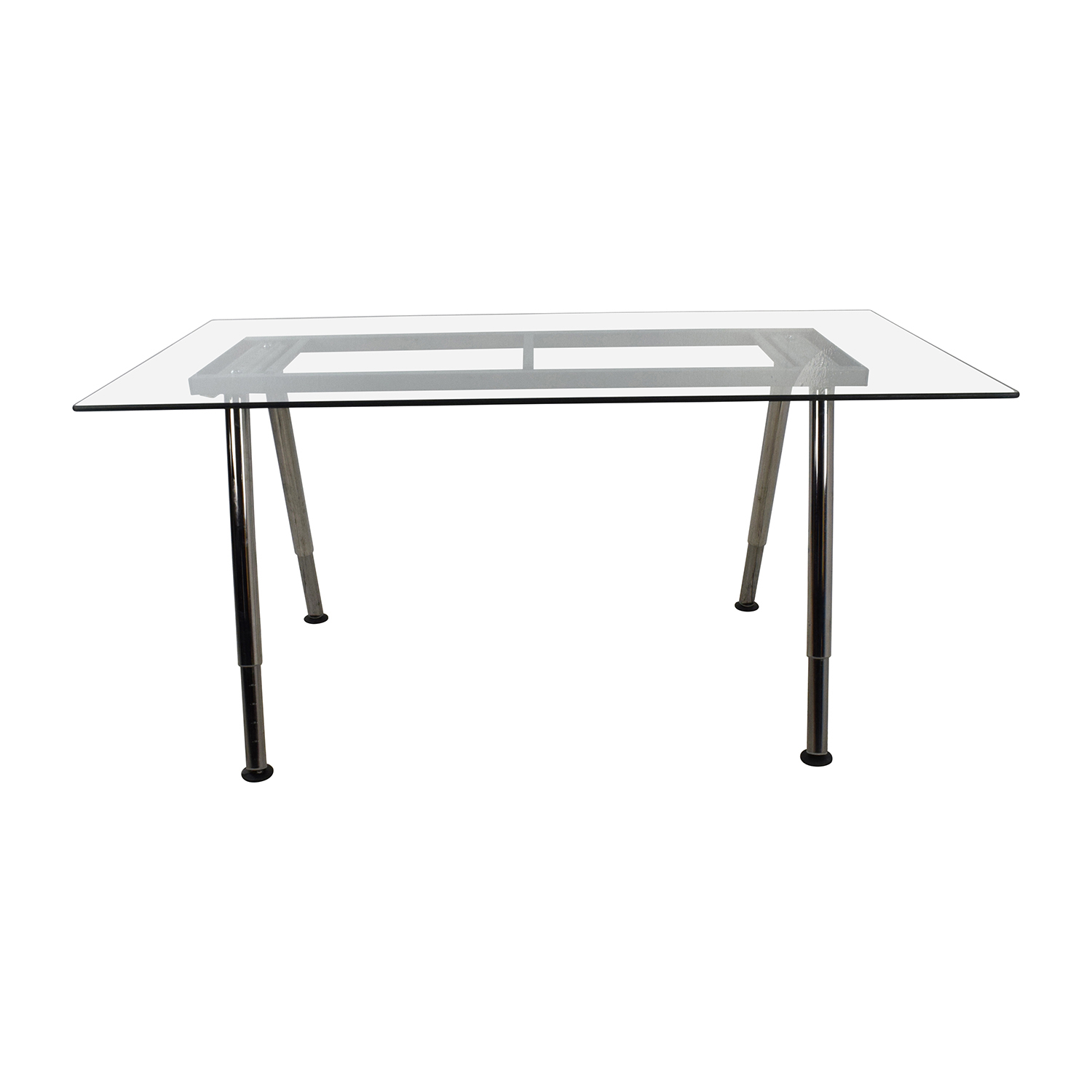 buy  Glass Top Trestle Table with Metal Base online