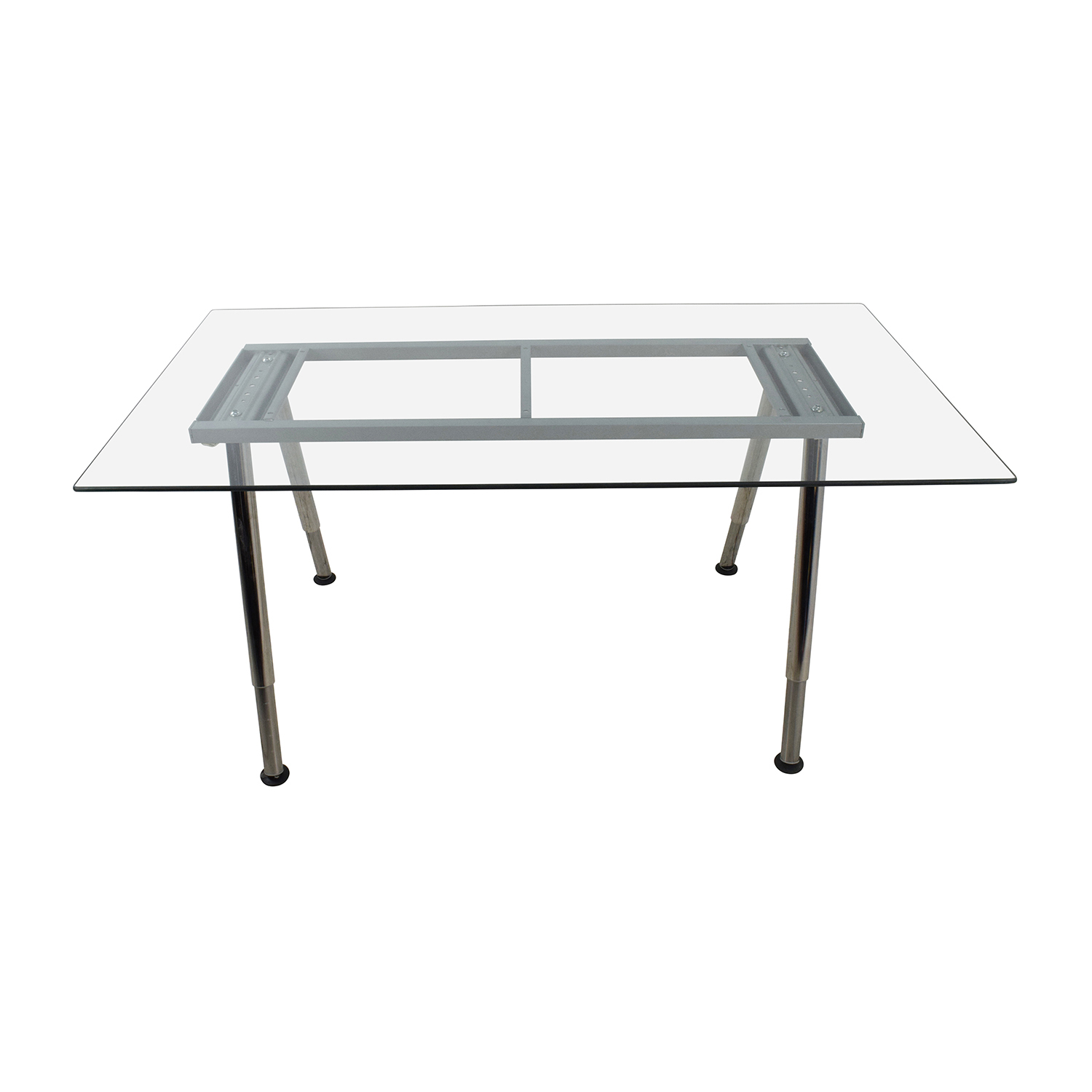 Glass Top Trestle Table with Metal Base sale