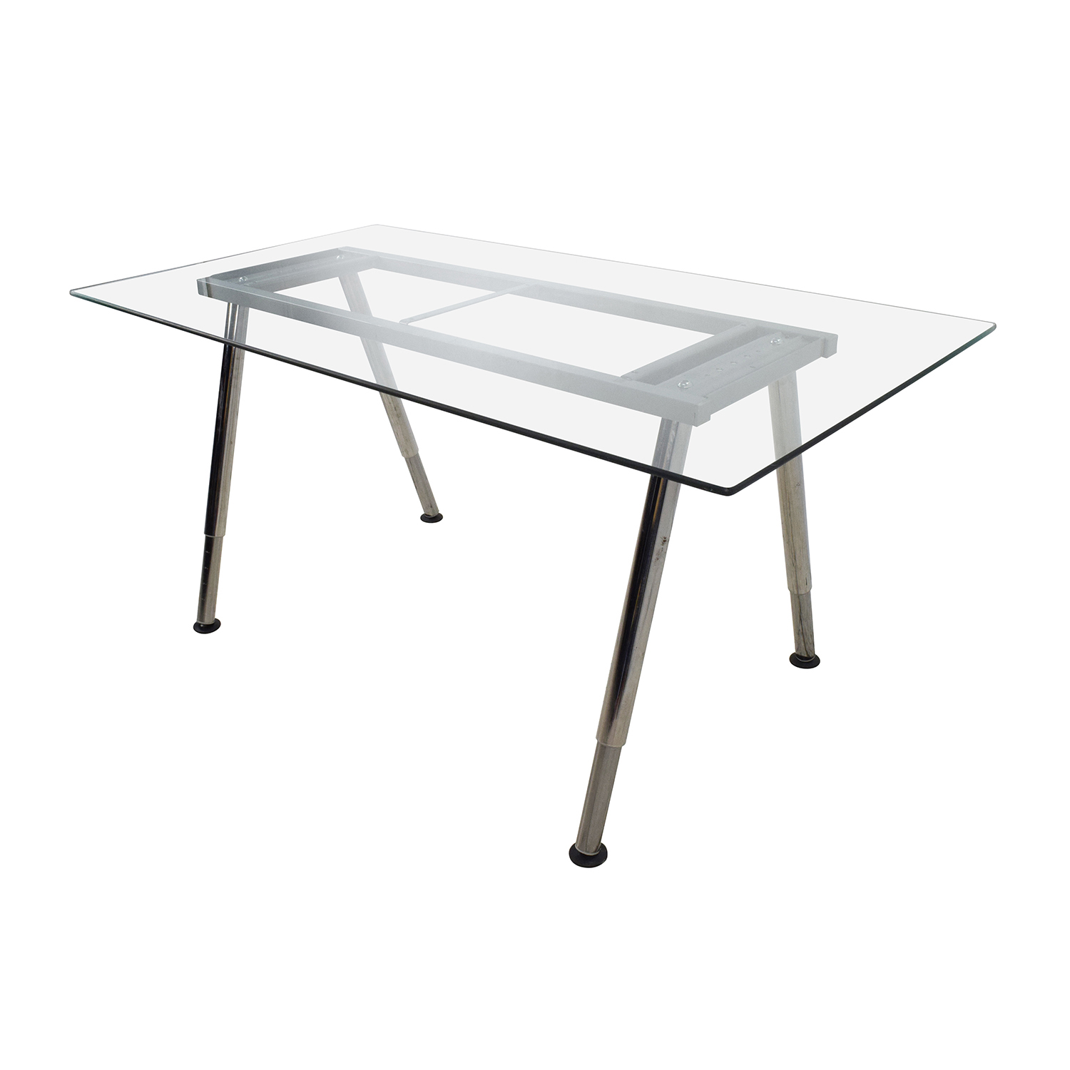 52 off glass top trestle table with metal base tables for Table 52 images