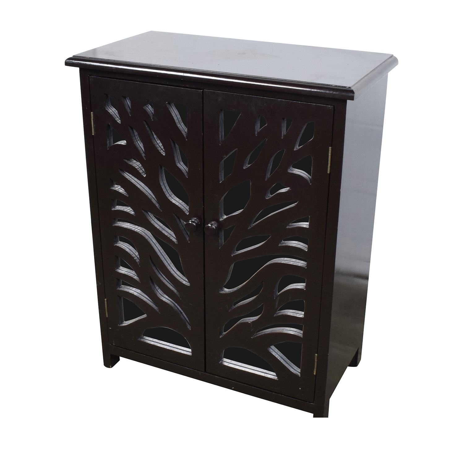 82 Off Small Black Wood And Mirrored Chest Storage