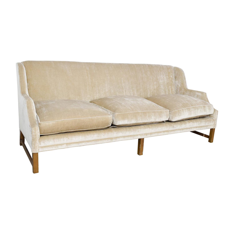 87 off o henry o henry taupe velvet couch sofas. Black Bedroom Furniture Sets. Home Design Ideas