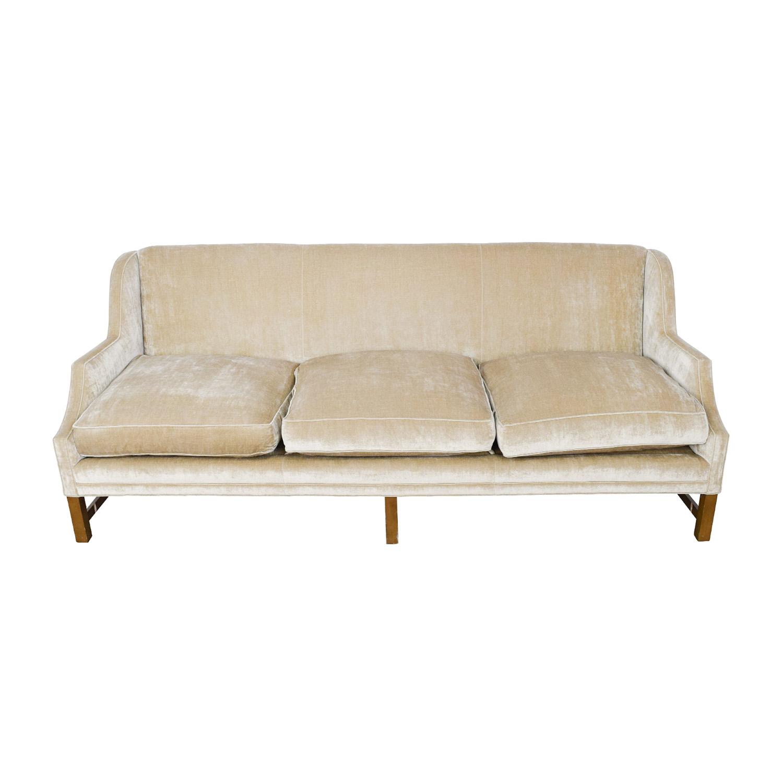 Taupe Velvet Sofa: O. Henry O. Henry Taupe Velvet Couch / Sofas