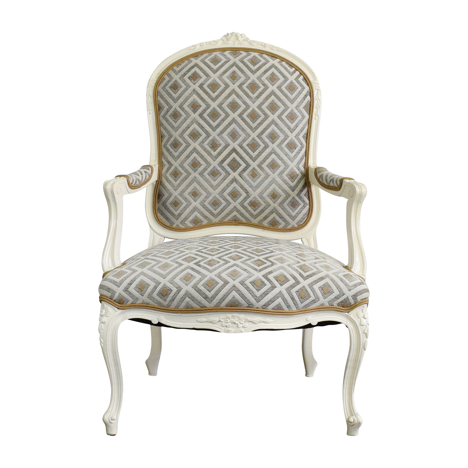 White Frame French Upholsterd Arm Chair / Sofas