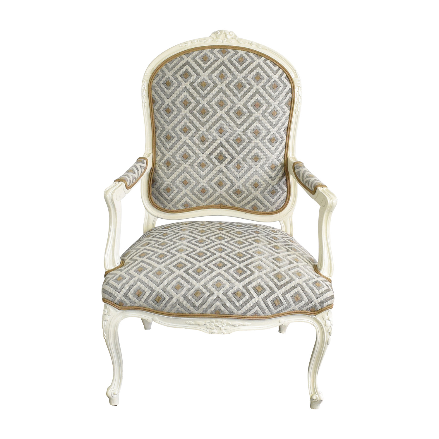 buy White Frame French Upholsterd Arm Chair online