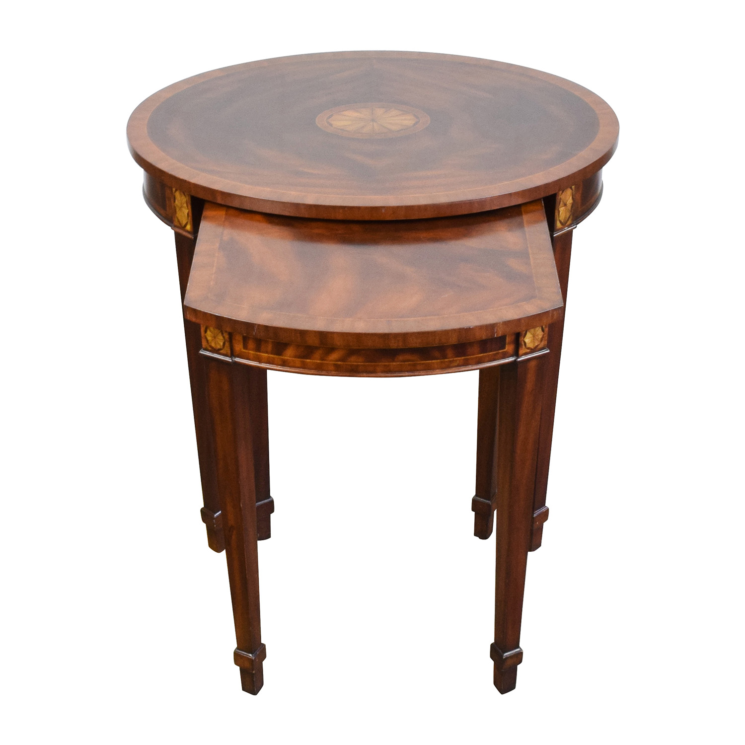Antique Reproduction Wood Nesting Side Tables Brown