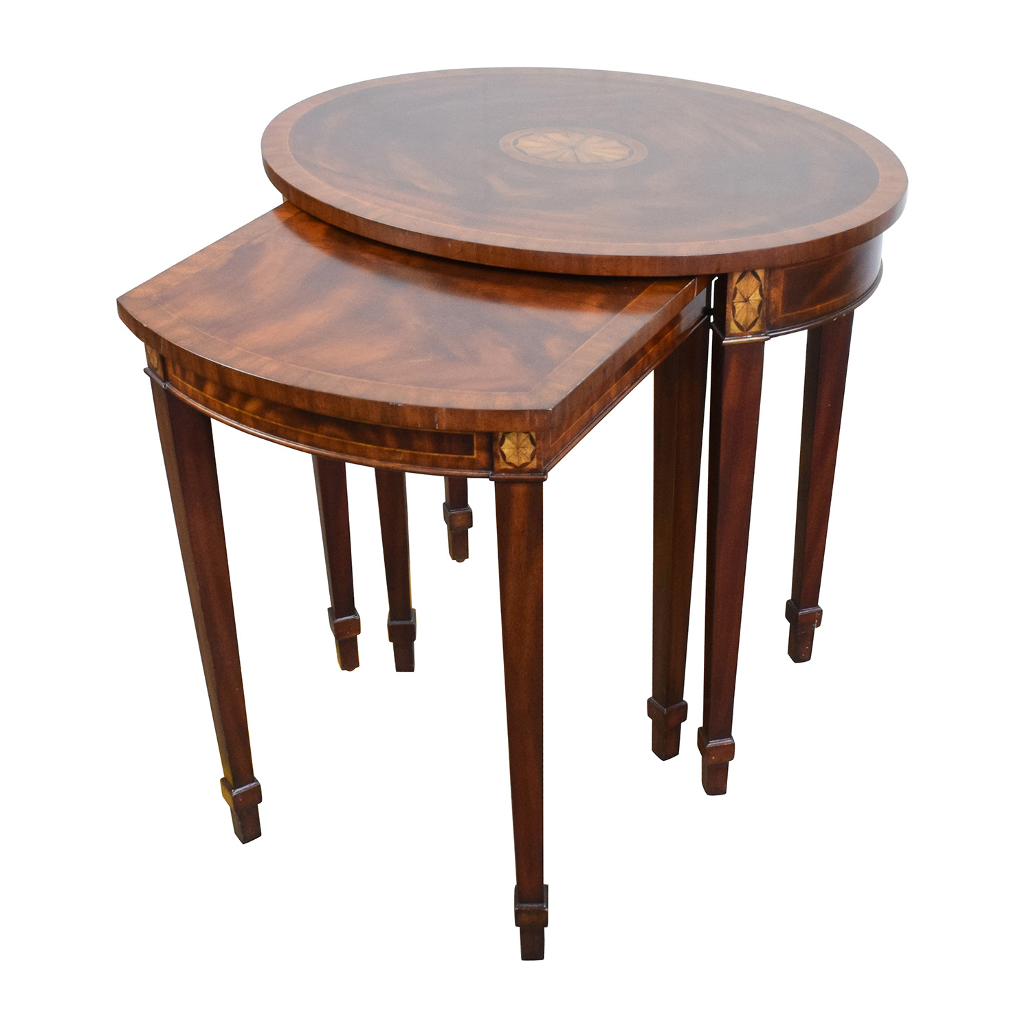 Off antique reproduction wood nesting side tables