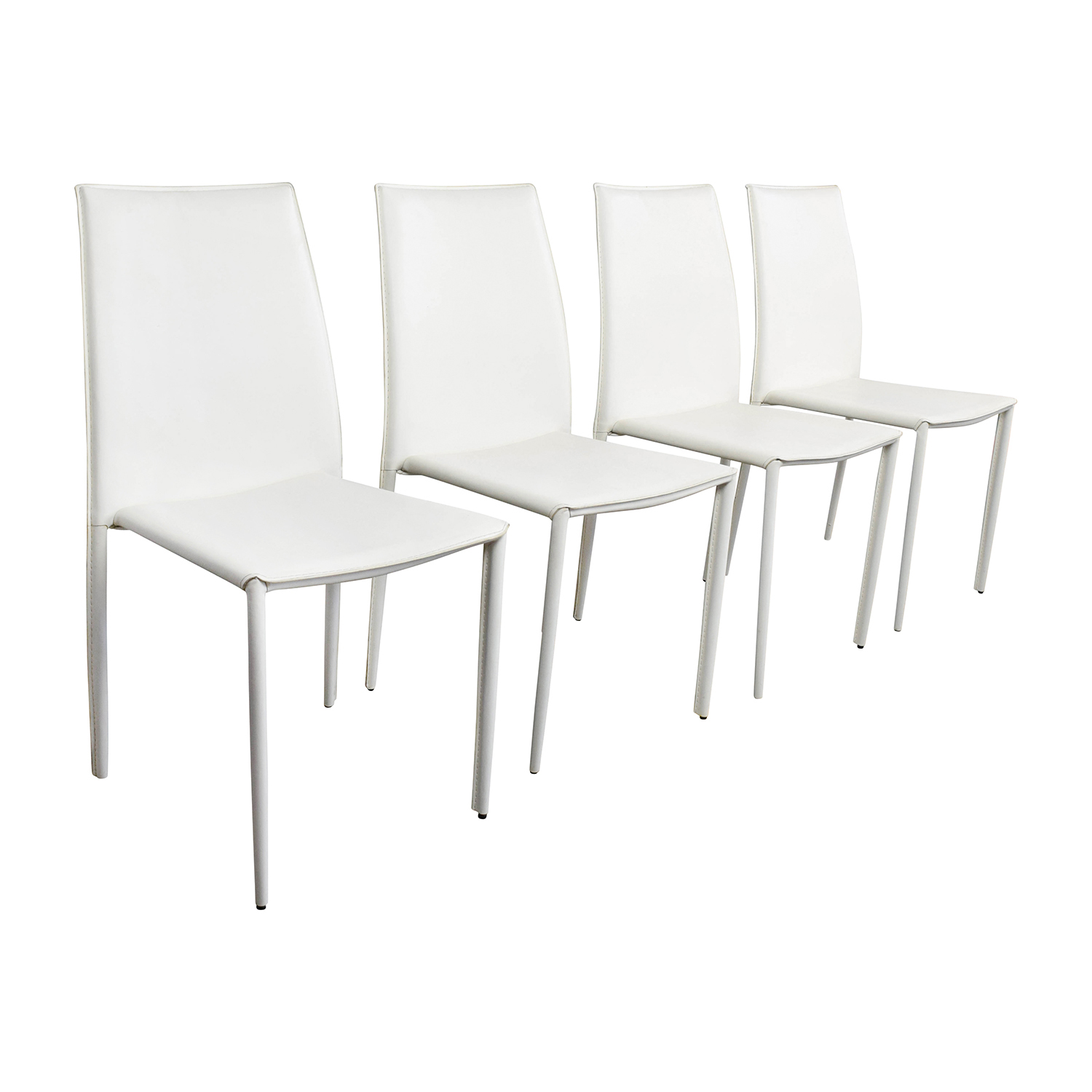 77 off all modern all modern white leather dining for White leather dining chairs