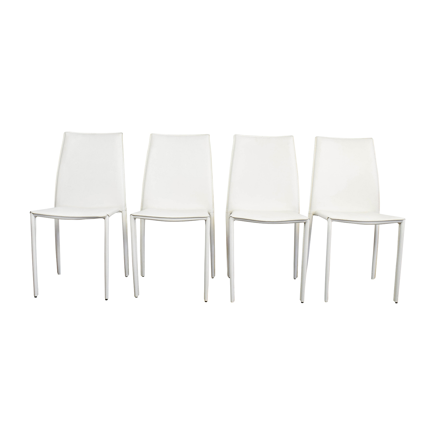 Awesome 77 Off Allmodern All Modern White Leather Dining Chairs Chairs Caraccident5 Cool Chair Designs And Ideas Caraccident5Info