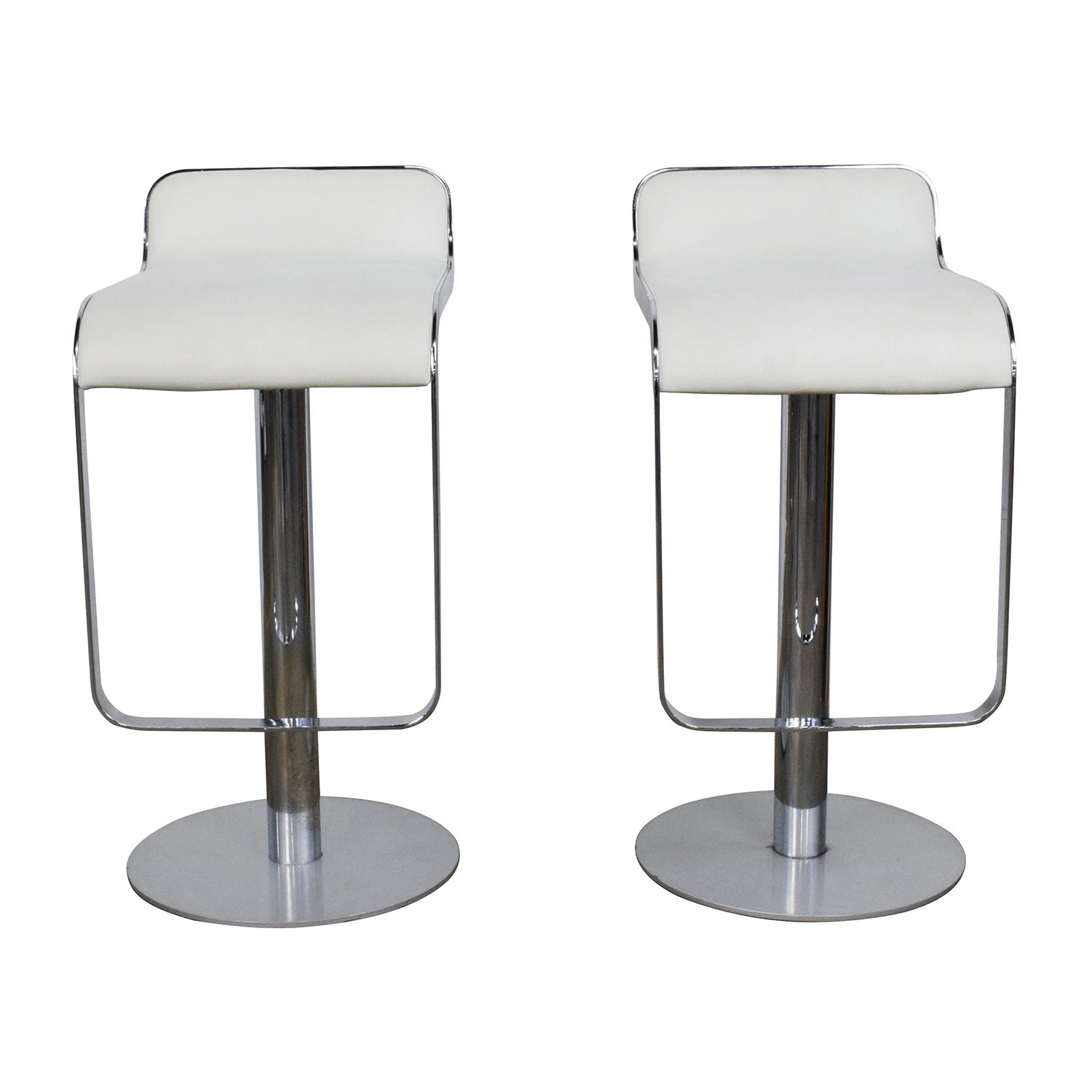 88% OFF   AllModern All Modern White Leather Bar Stools / Chairs