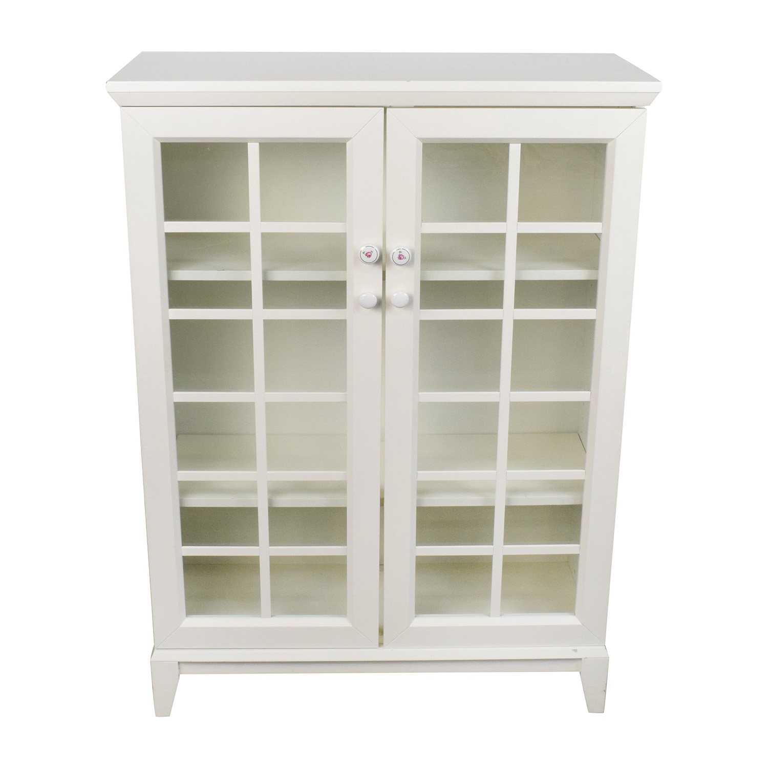 Crate and Barrel White China Cabinet sale