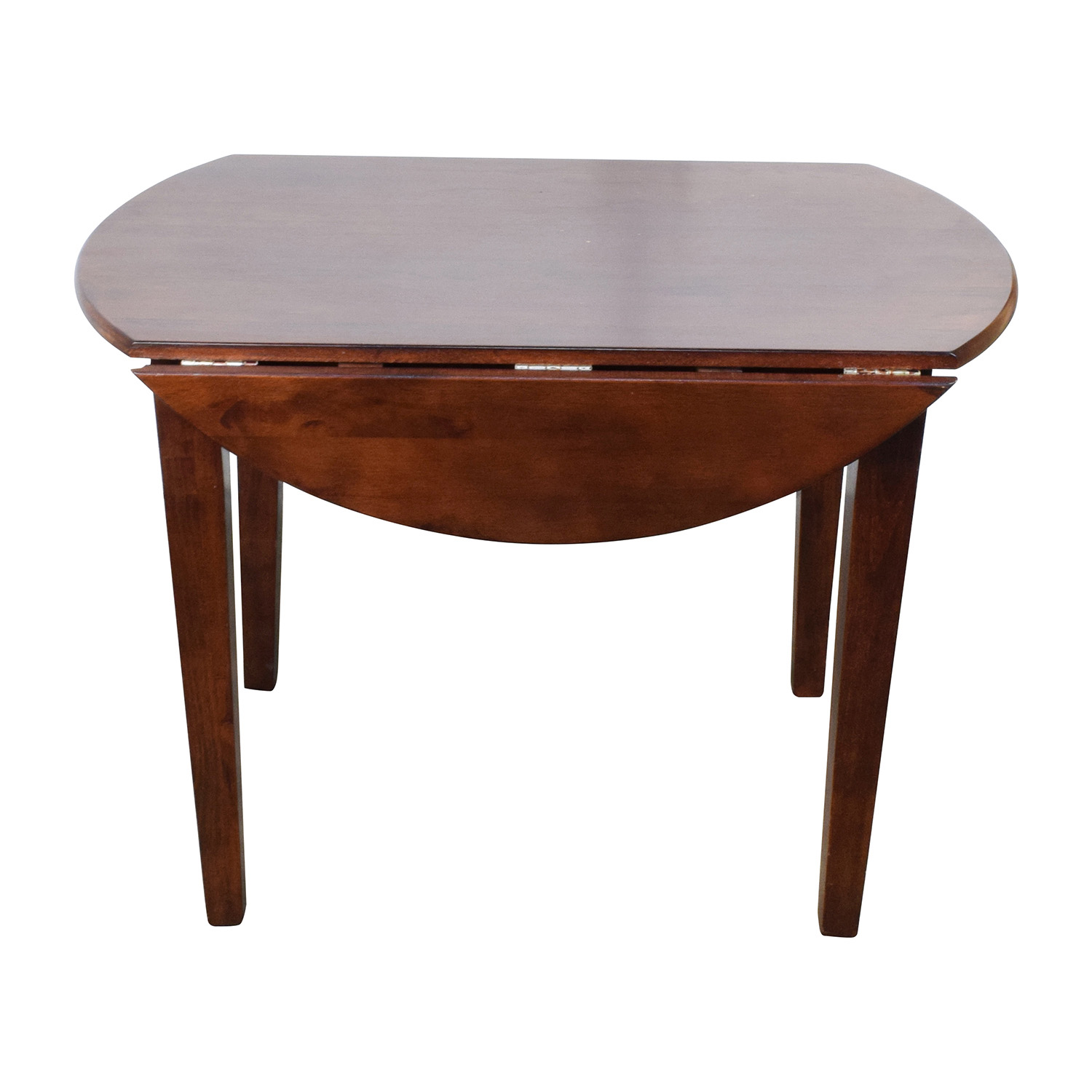 Round Wood Table with Folding Leaves used