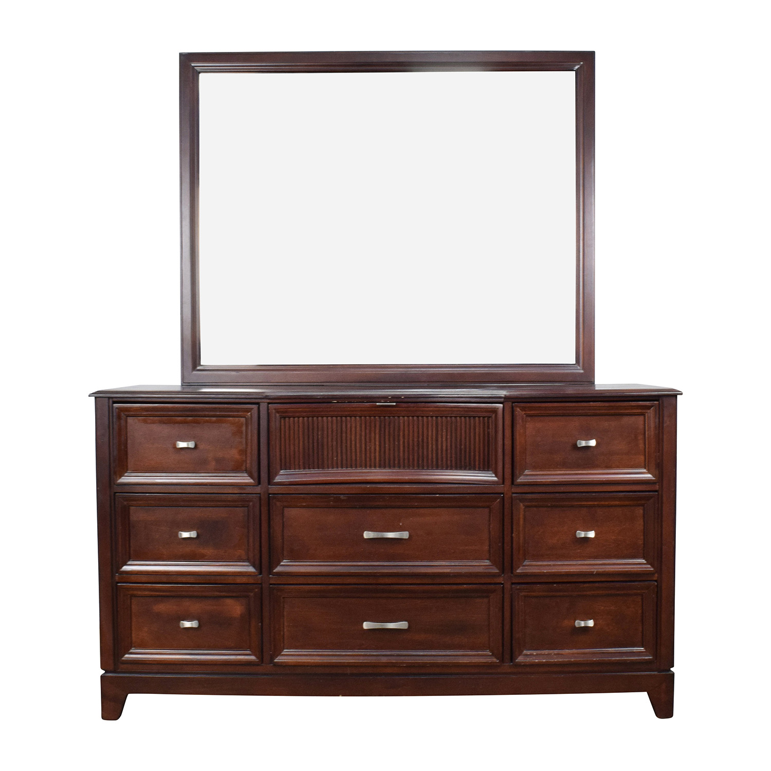 shop Bobs Furniture Cherry Wood Dresser with Mirror Bobs Furniture Dressers