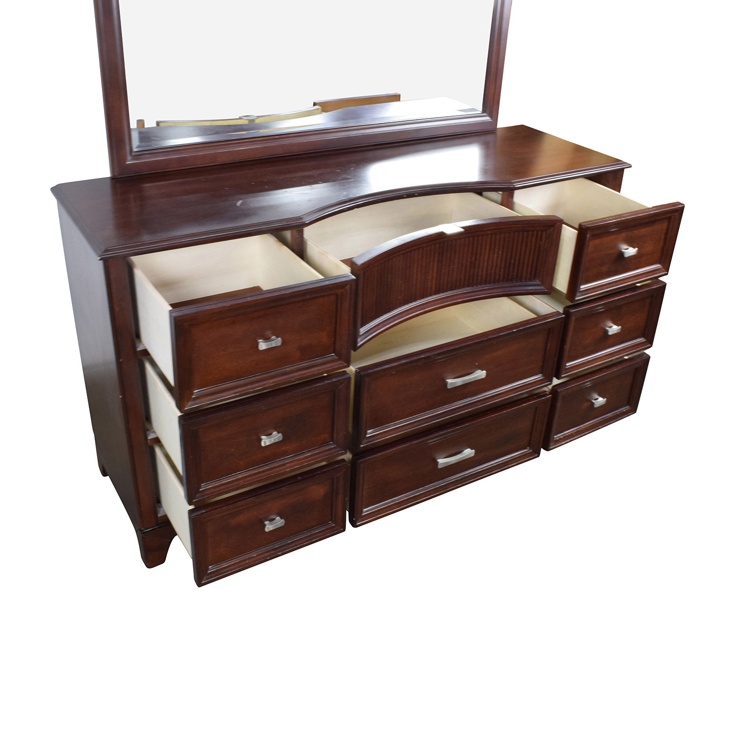 Nice ... Bobs Furniture Cherry Wood Dresser With Mirror / Storage ...