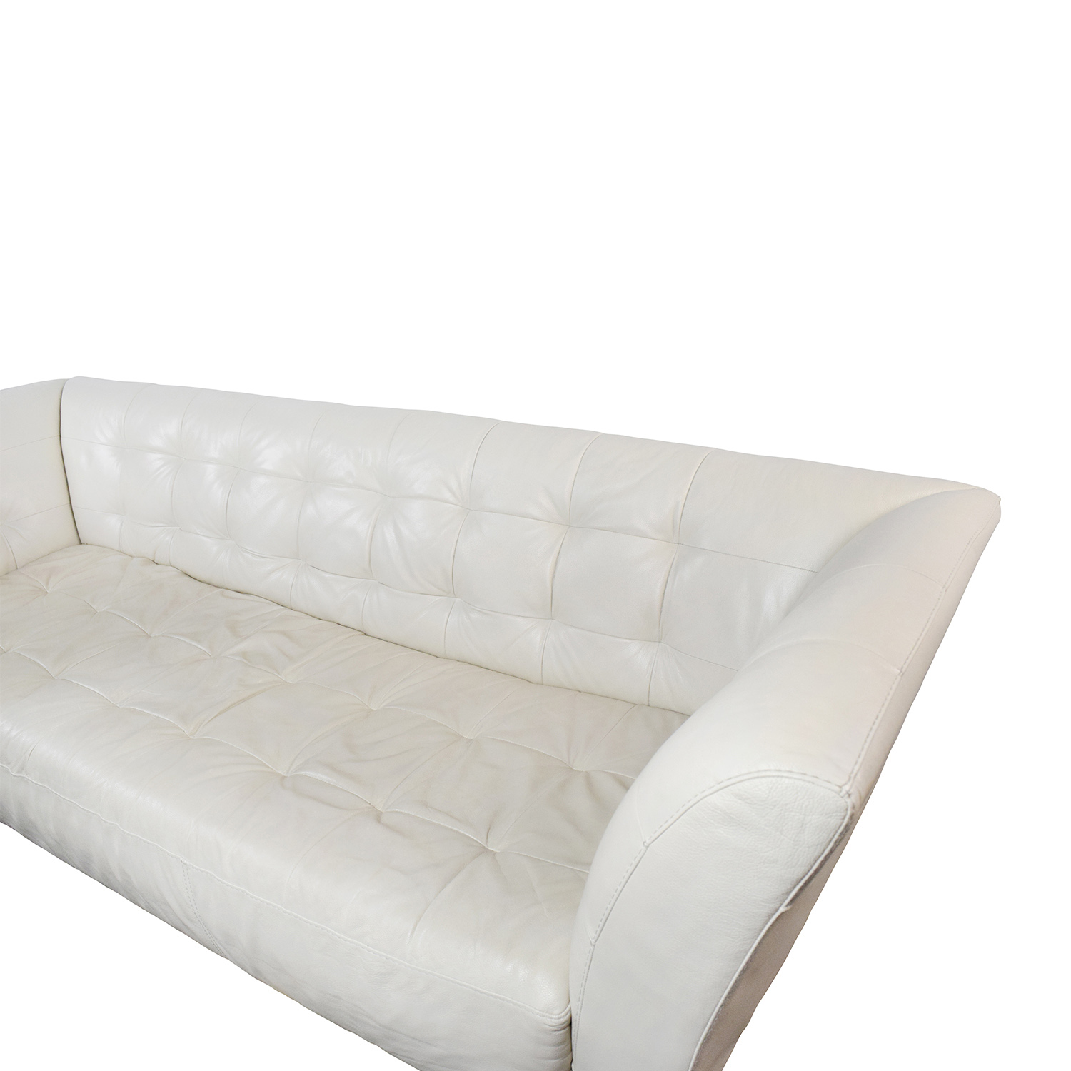 86 Off Macy S Macy S Modern White Leather Tufted Sofa