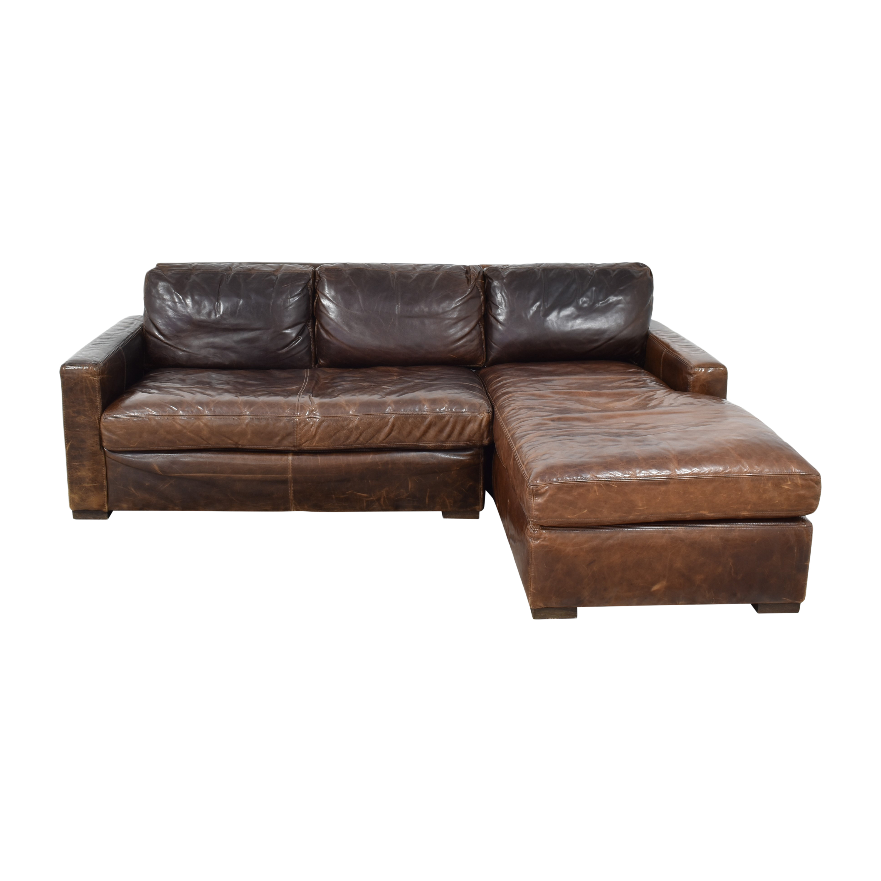 Restoration Hardware Restoration Hardware Petite Maxwell Chaise Sectional brown