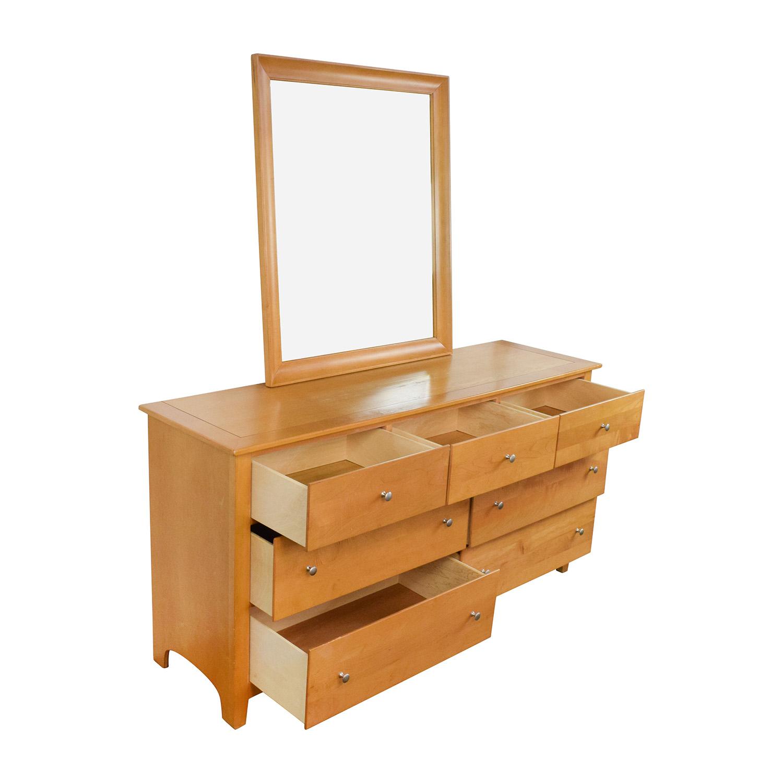 75 Off Stanley Furniture Stanley Furniture Maple Wood Dresser And Mirror Storage