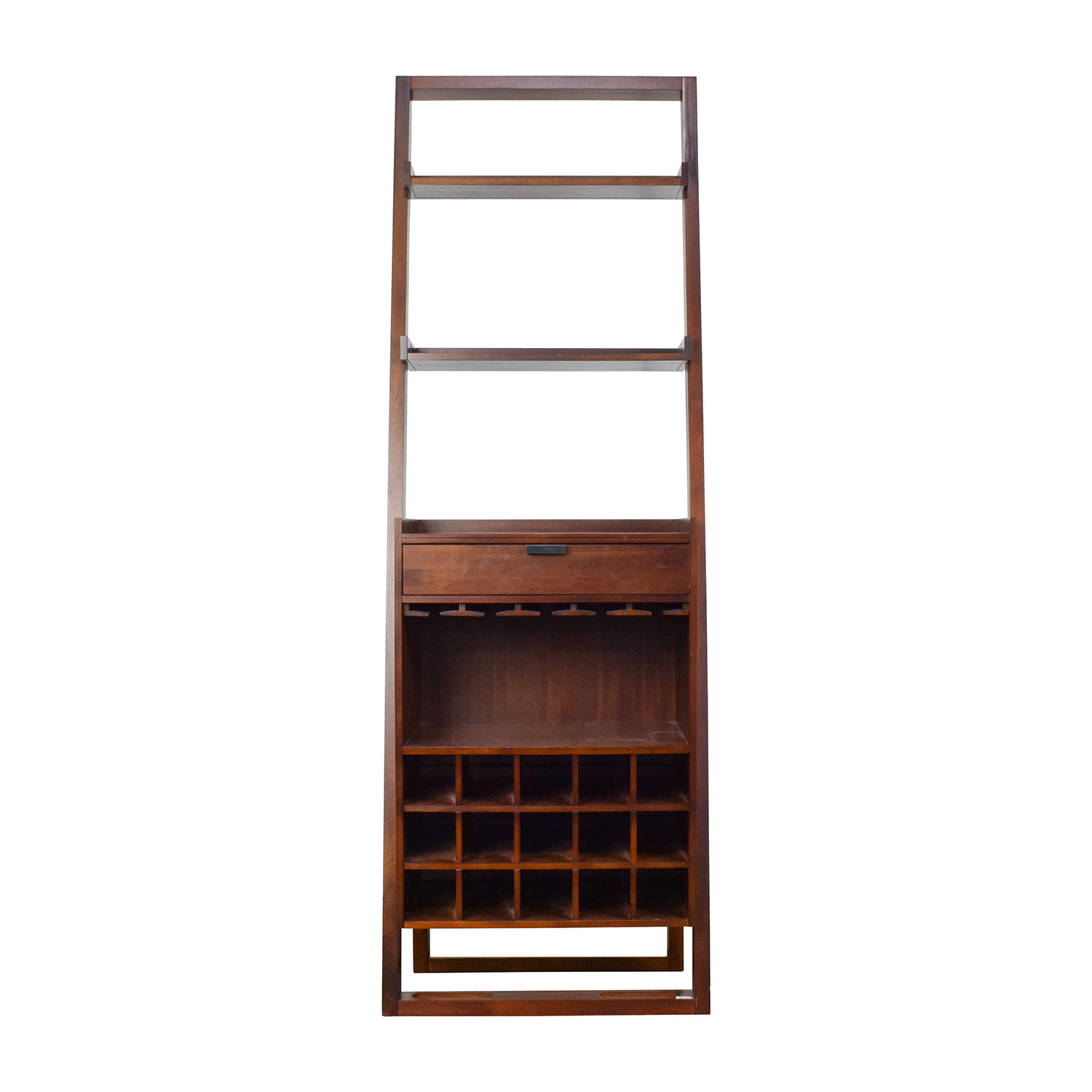 Crate & Barrel Wood Leaning Bookshelf Bar Storage