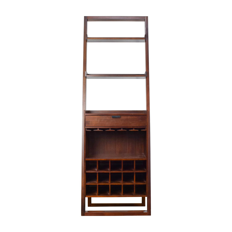 quality design e6f57 31269 33% OFF - Crate & Barrel Wood Leaning Bookshelf Bar / Storage