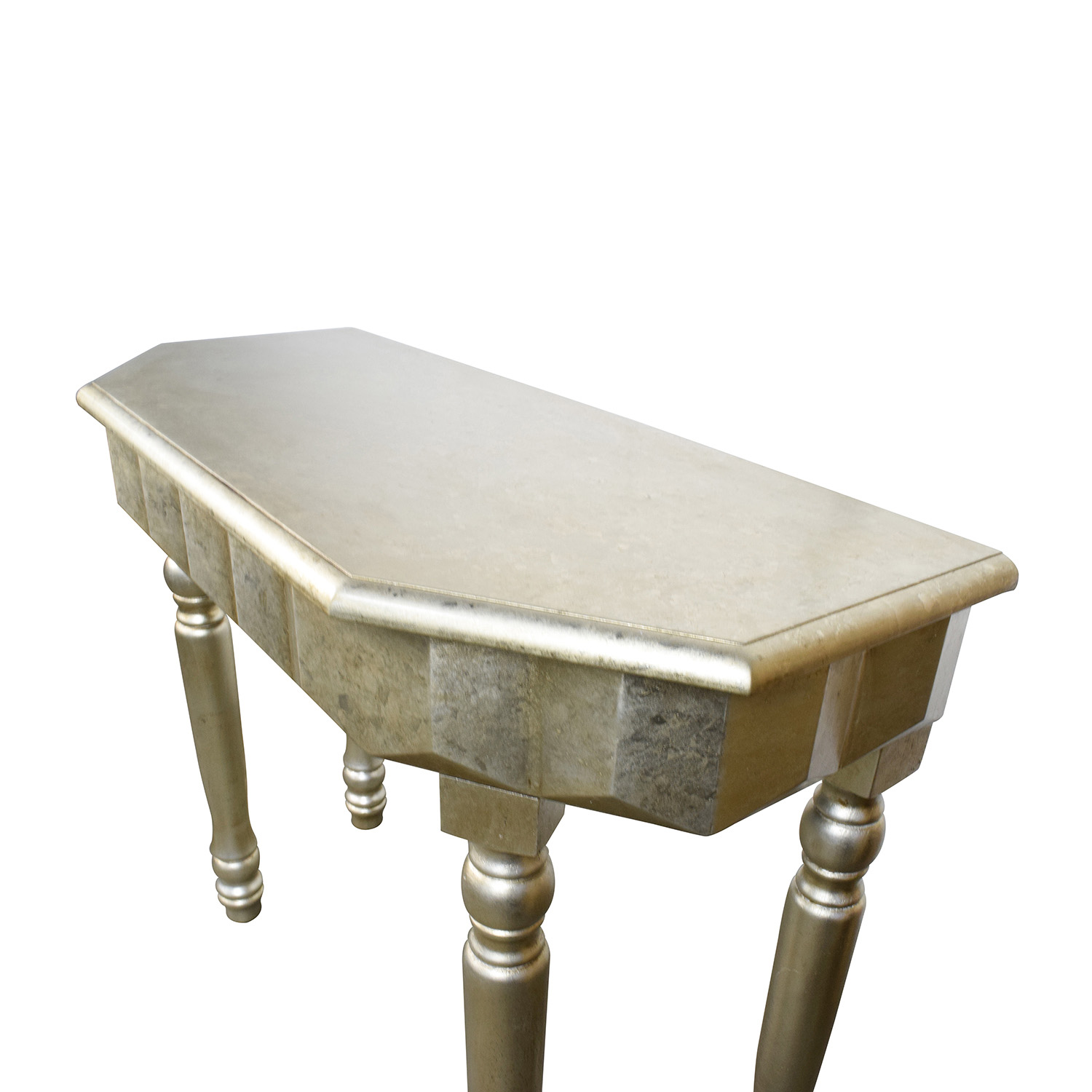 ... Rustic Gold Metallic Console Table Used