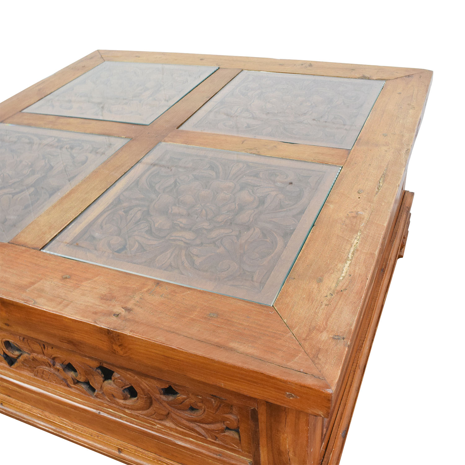 77% OFF - Teak Carved Coffee Table with Glass Top / Tables