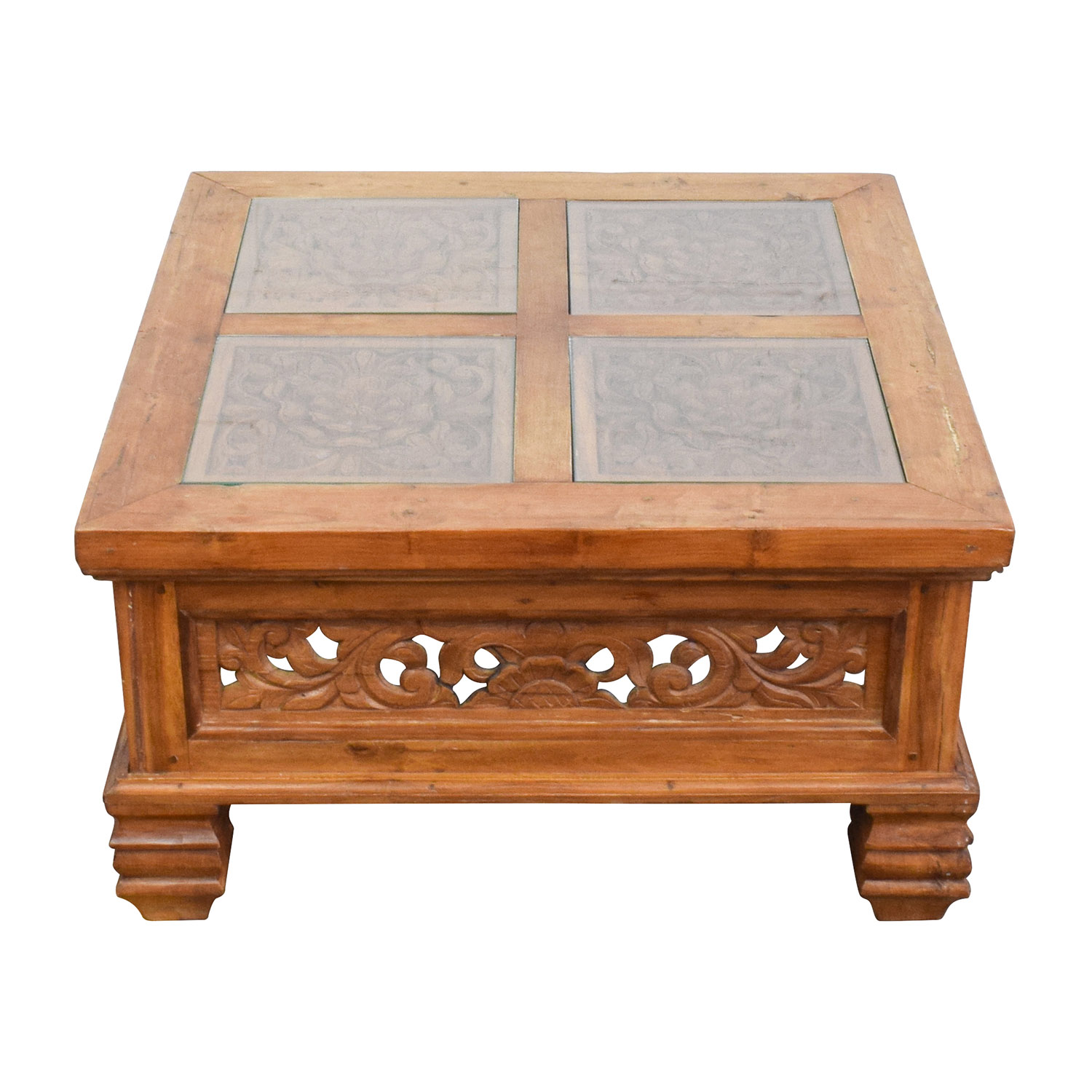 77 off teak carved coffee table with glass top tables for Coffee tables glass top